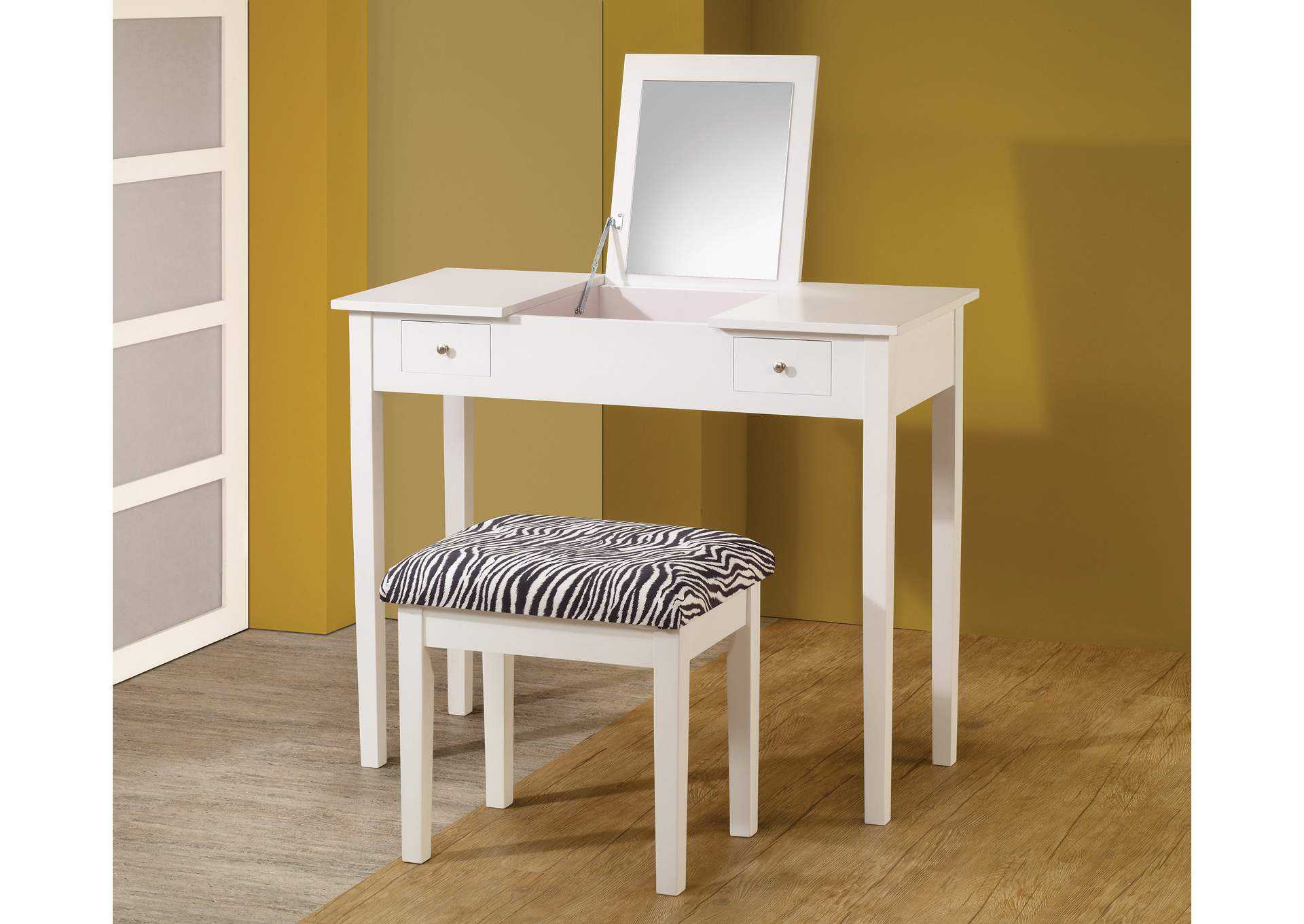 2-Piece Vanity Set White And Zebra,Coaster Furniture
