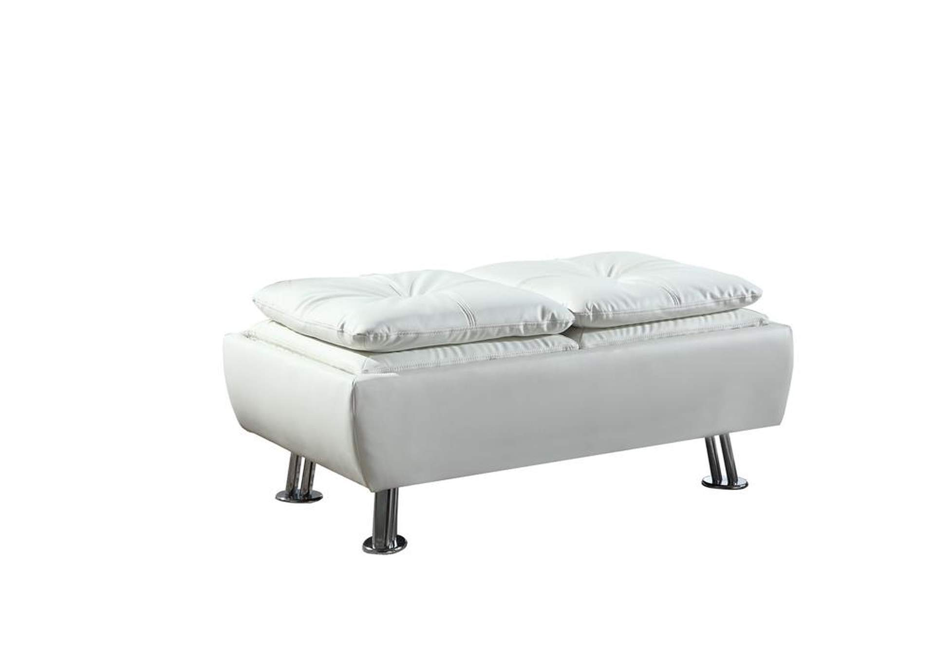 Quick Silver Dilleston Contemporary White Ottoman,Coaster Furniture