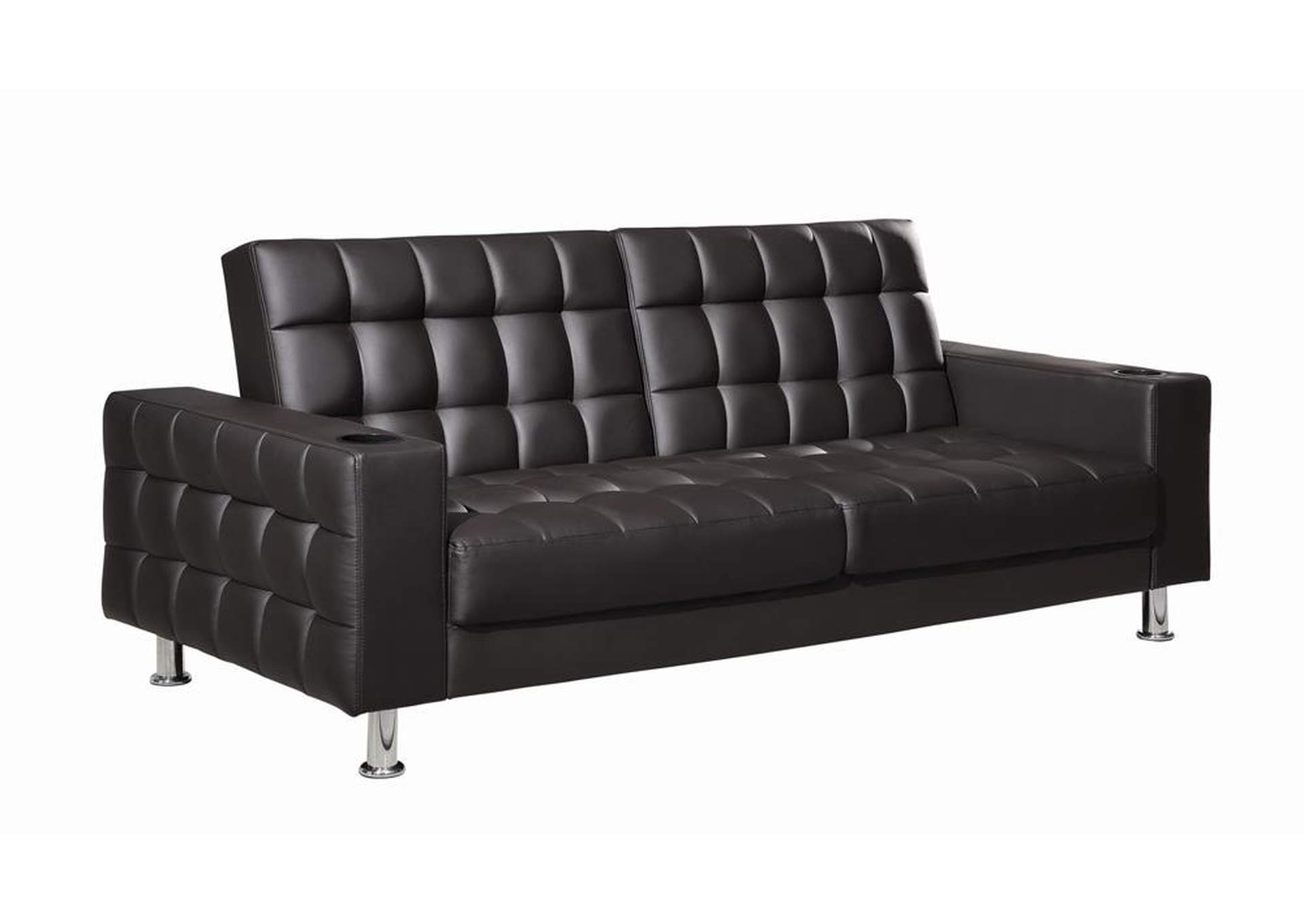 Eerie Black Brown Faux Leather Sofa Bed,Coaster Furniture