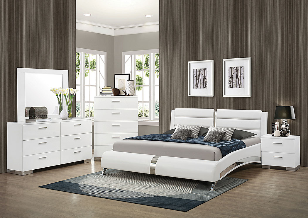White California King Upholstered Bed w/Dresser & Mirror,Coaster Furniture