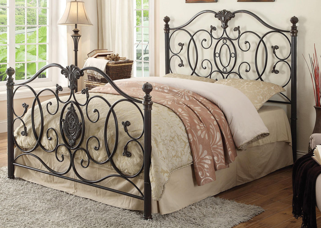 Black Brush Gold Queen Bed,Coaster Furniture