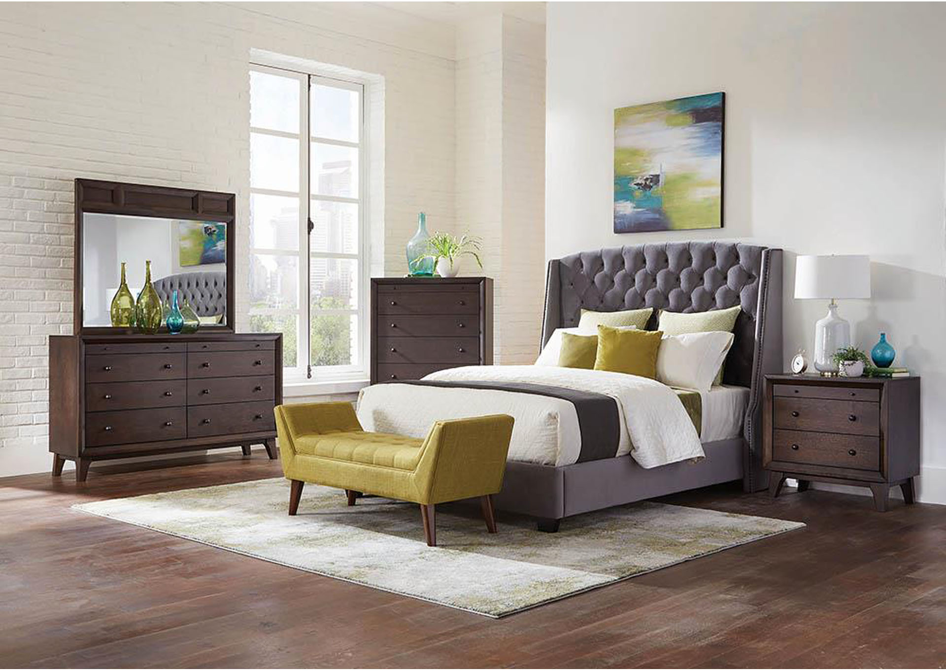 Alto Pissarro Transitional Upholstered Grey and Chocolate Queen Bed,Coaster Furniture