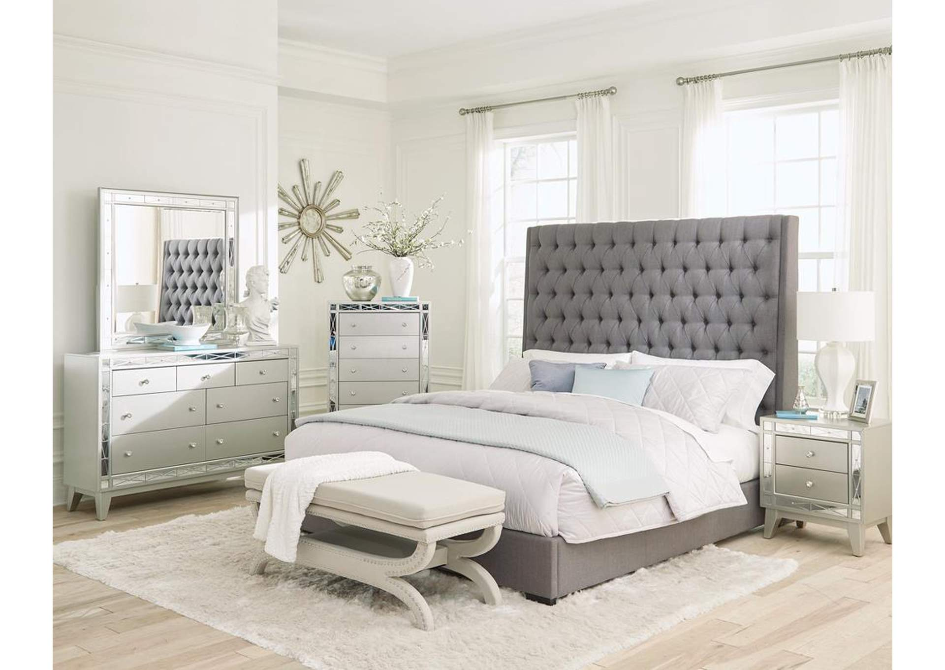 Napa Camille Grey Upholstered Queen Bed,Coaster Furniture