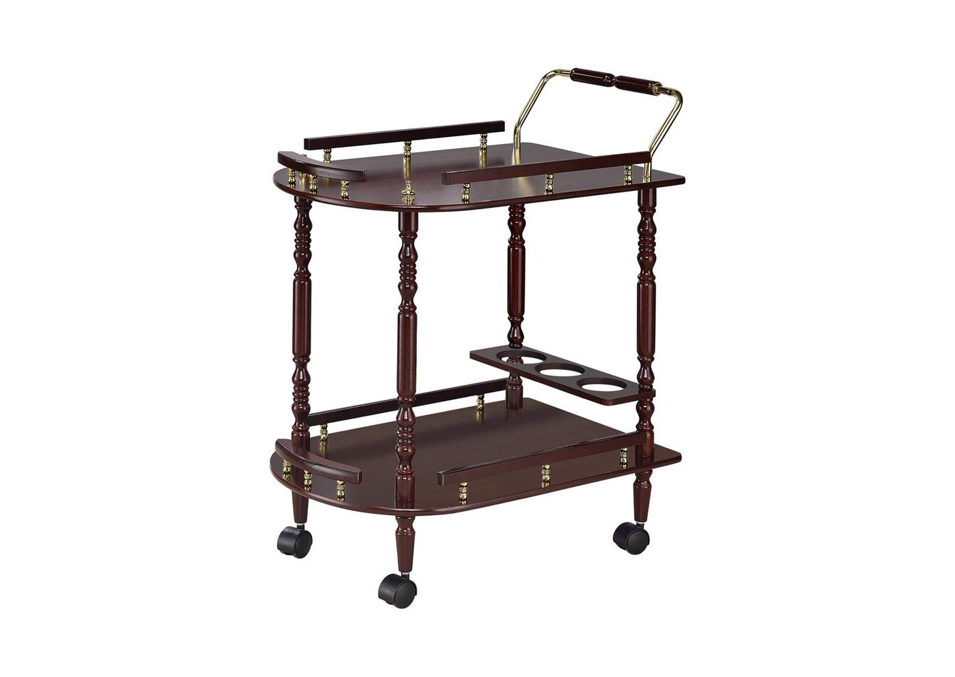 Woody Brown Recreation Room Traditional Merlot Serving Cart,Coaster Furniture