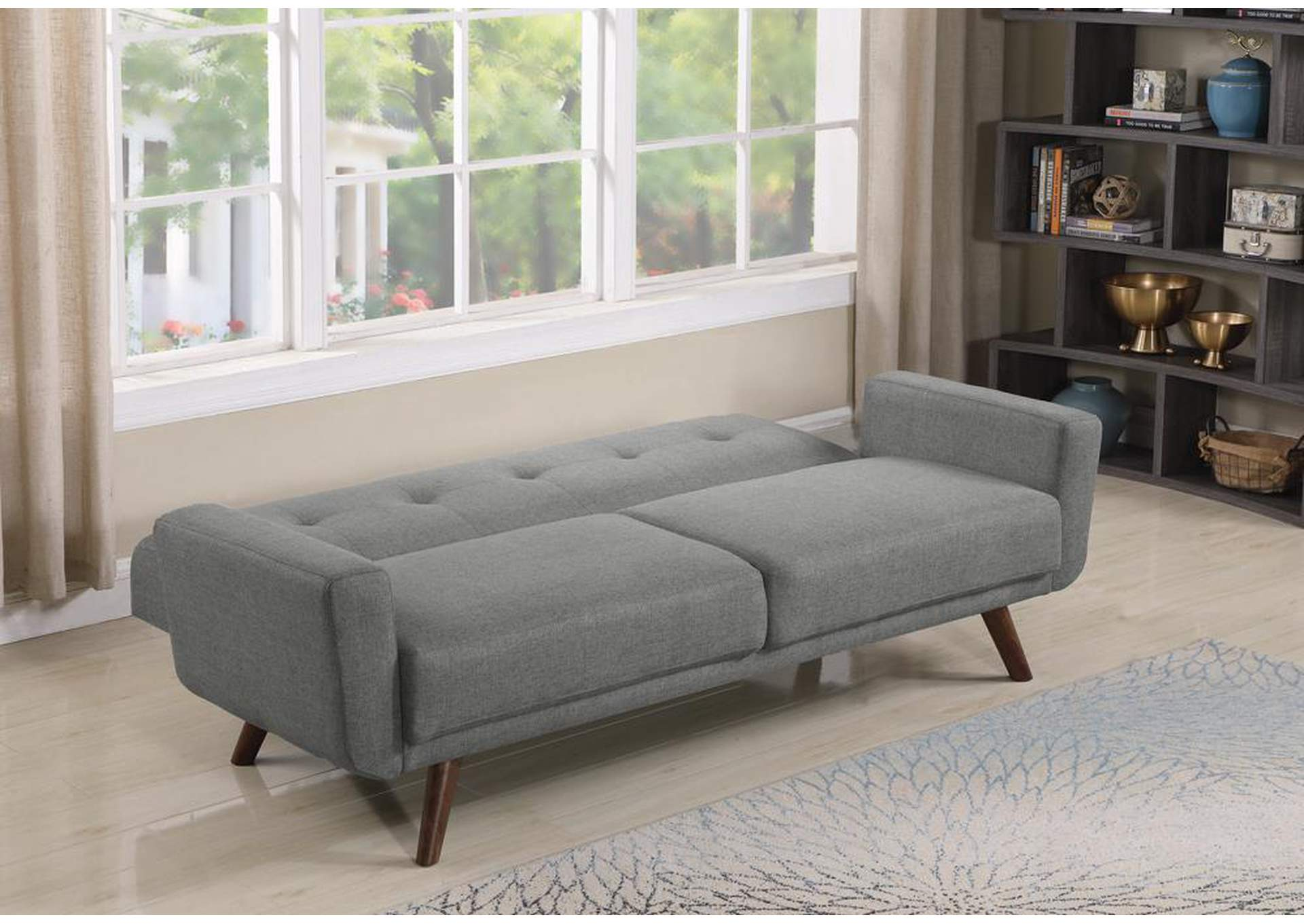 Gray Mid-Century Modern Grey and Walnut Sofa Bed,Coaster Furniture