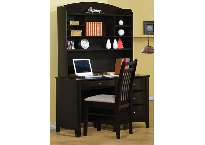 Phoenix Cappuccino Desk & Hutch w/Chair,Coaster Furniture