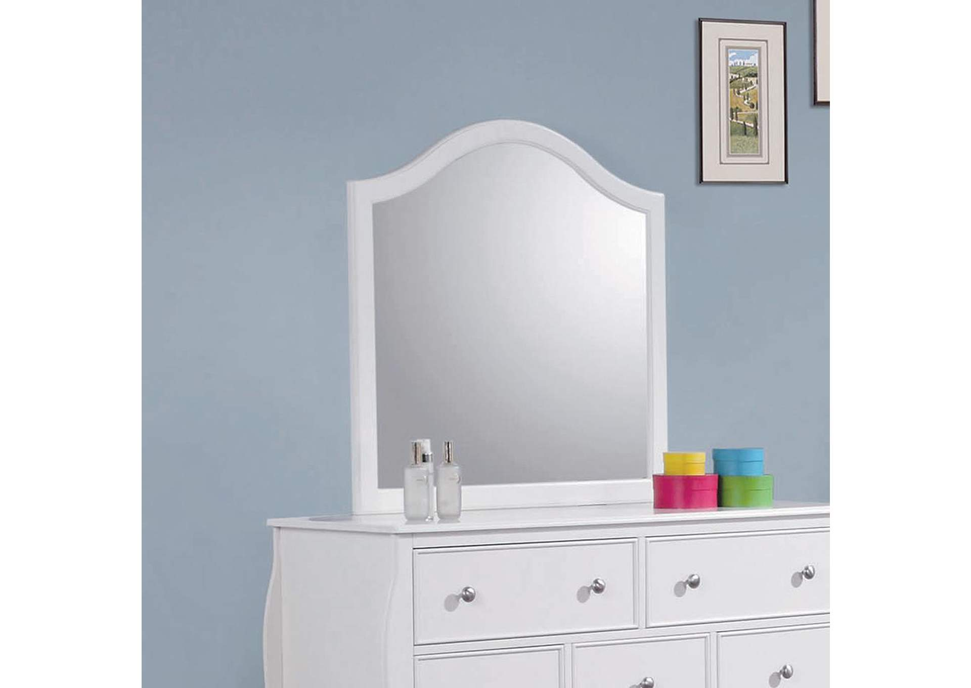Dominique White Mirror,Coaster Furniture