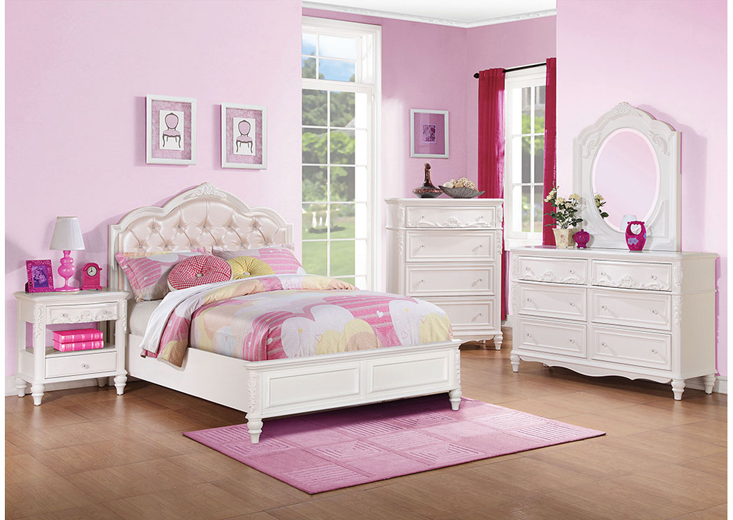White Twin Bed w/Dresser & Mirror,Coaster Furniture