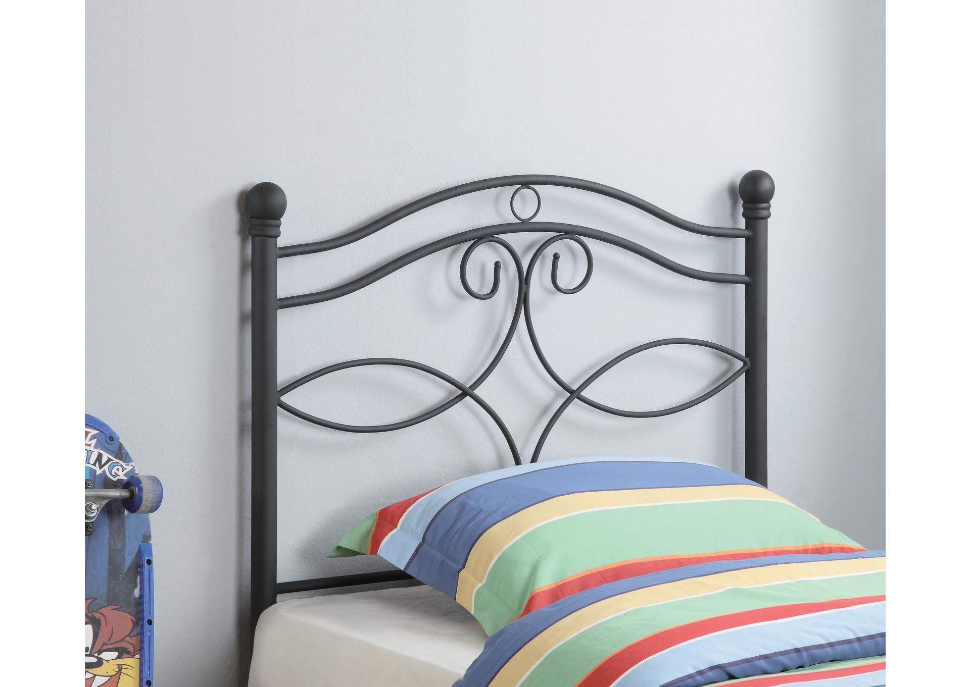 Mischka Transitional Black Metal Twin Headboard,Coaster Furniture