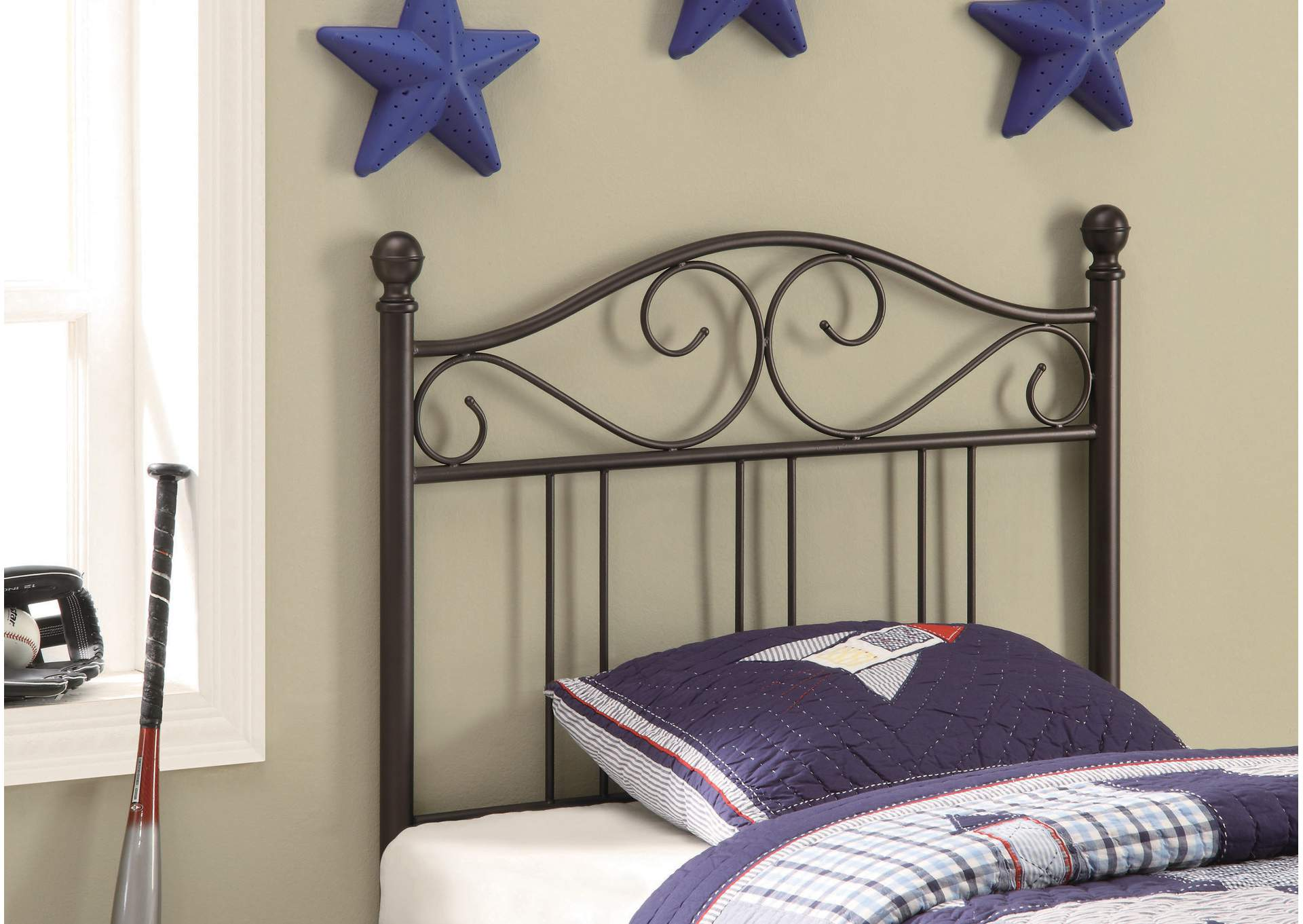 Alabaster Transitional Brown Metal Twin Headboard,Coaster Furniture