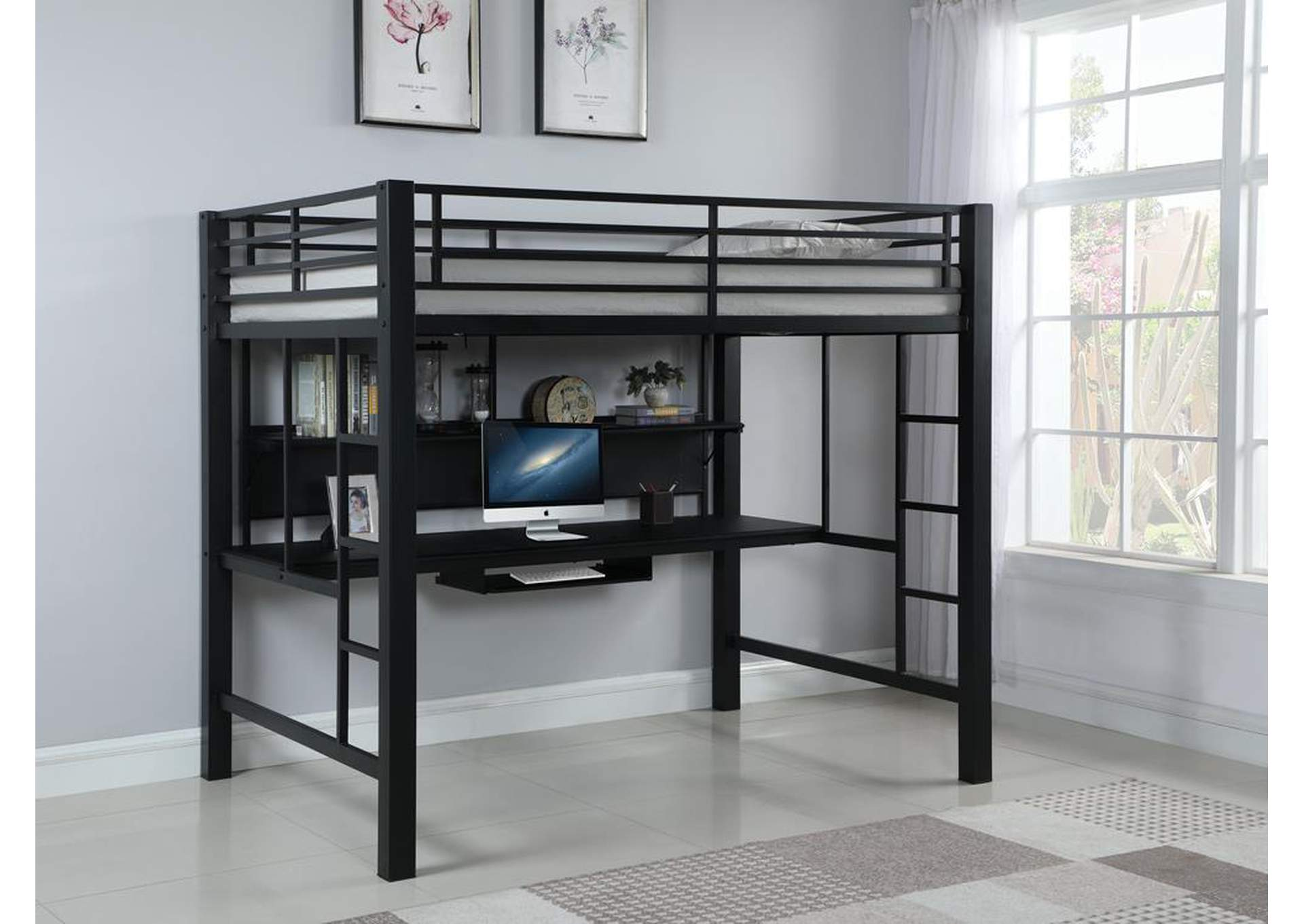 Loblolly Contemporary Black Metal Loft Bed,Coaster Furniture