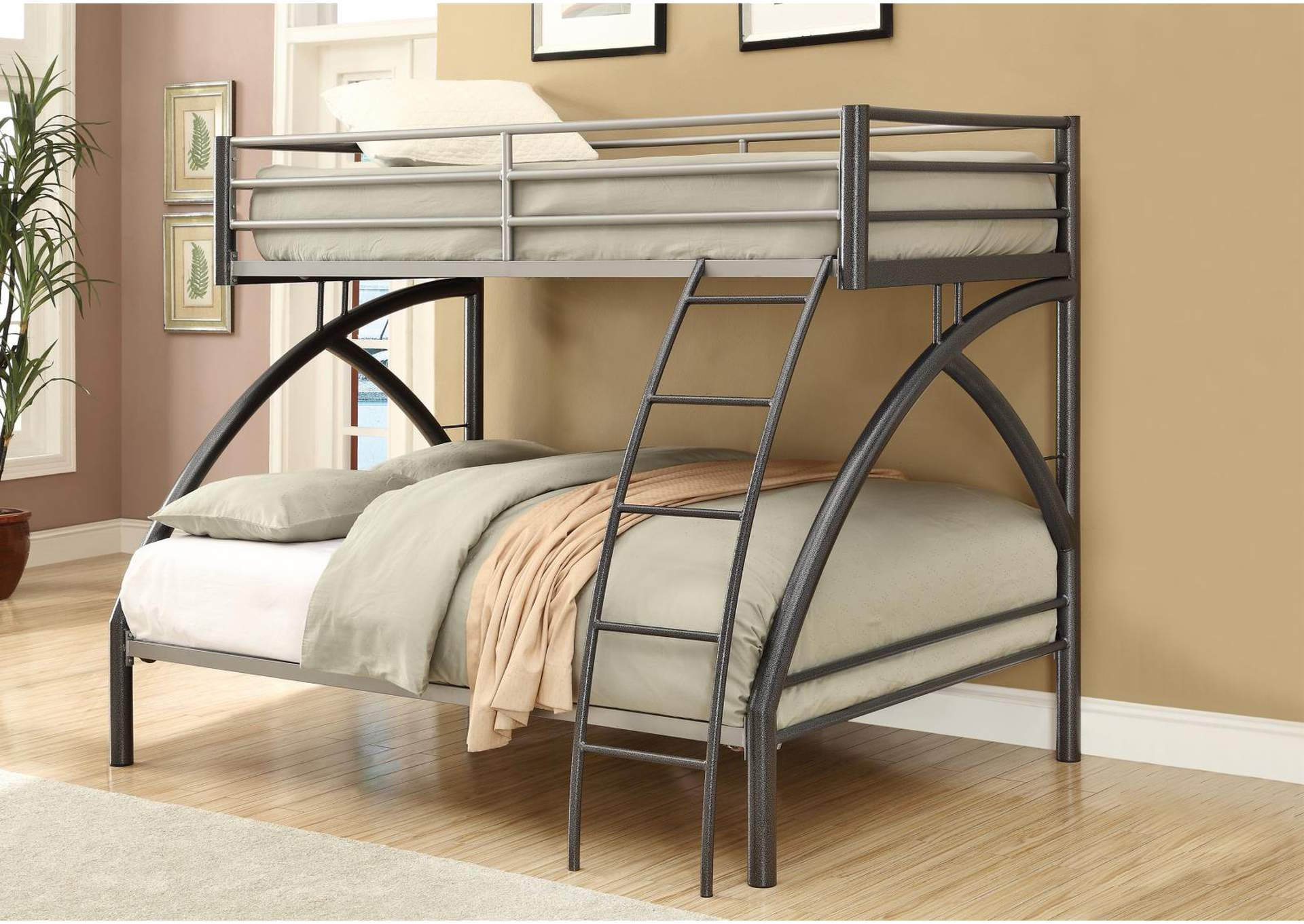 Heathered Gray Twin-over-Full Metal Bunk Bed,Coaster Furniture