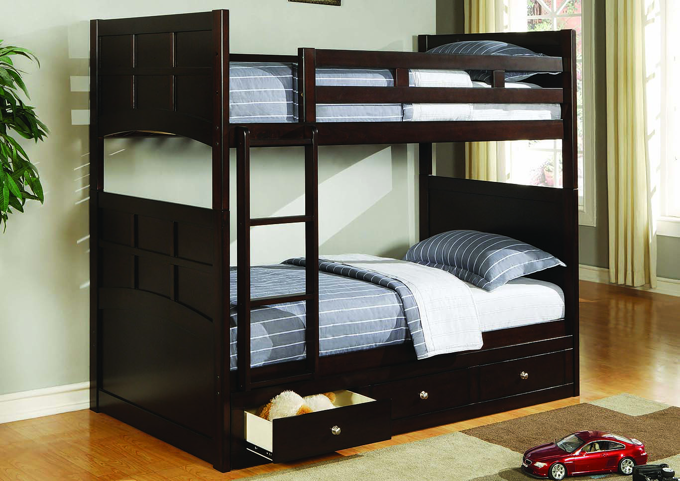 Jasper Cappuccino Twin Bunk Bed W/ Ladder,Coaster Furniture