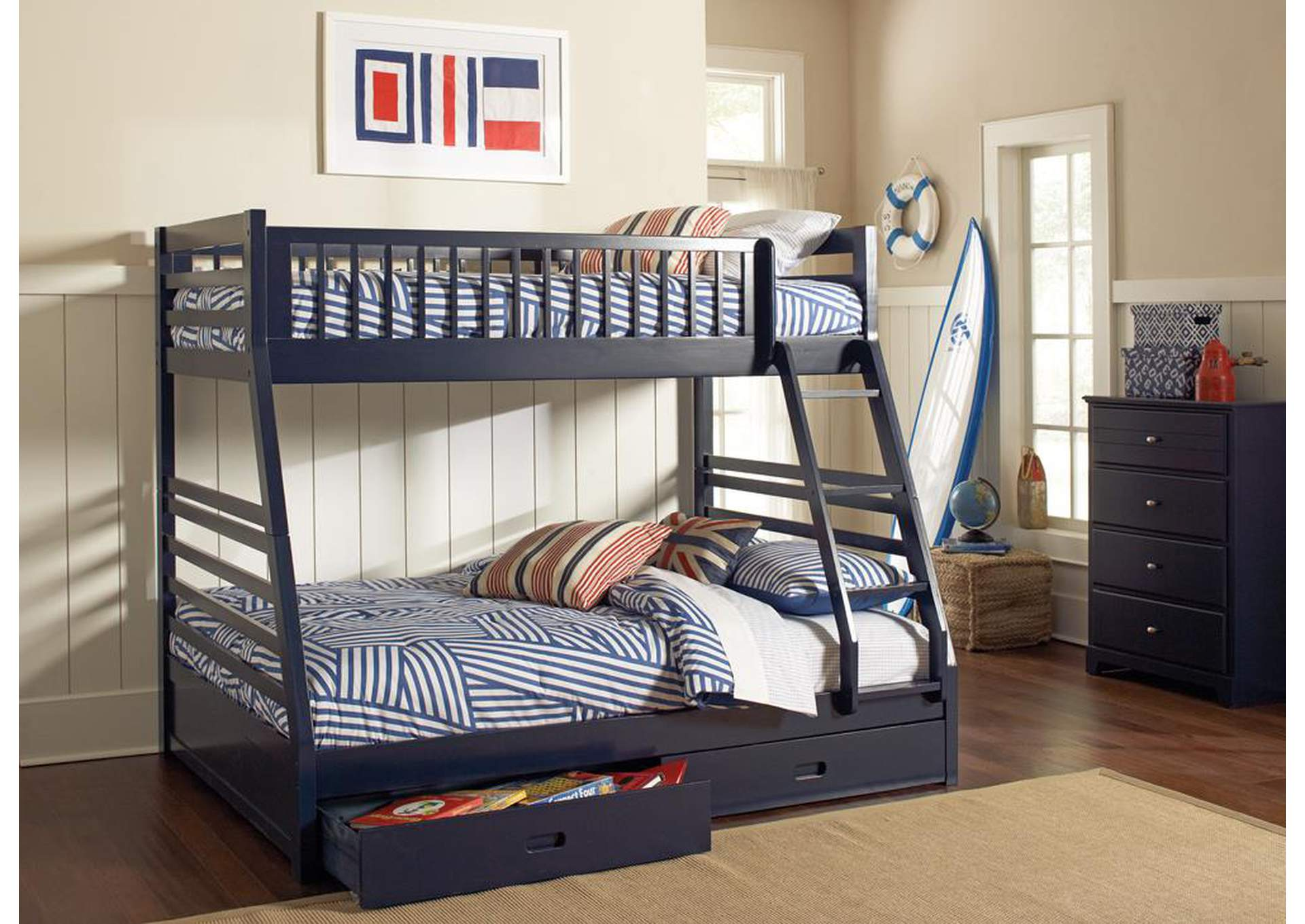 Ashton Navy Twin-over-Full Bunk Bed W/ 2 Drawer Storage,Coaster Furniture