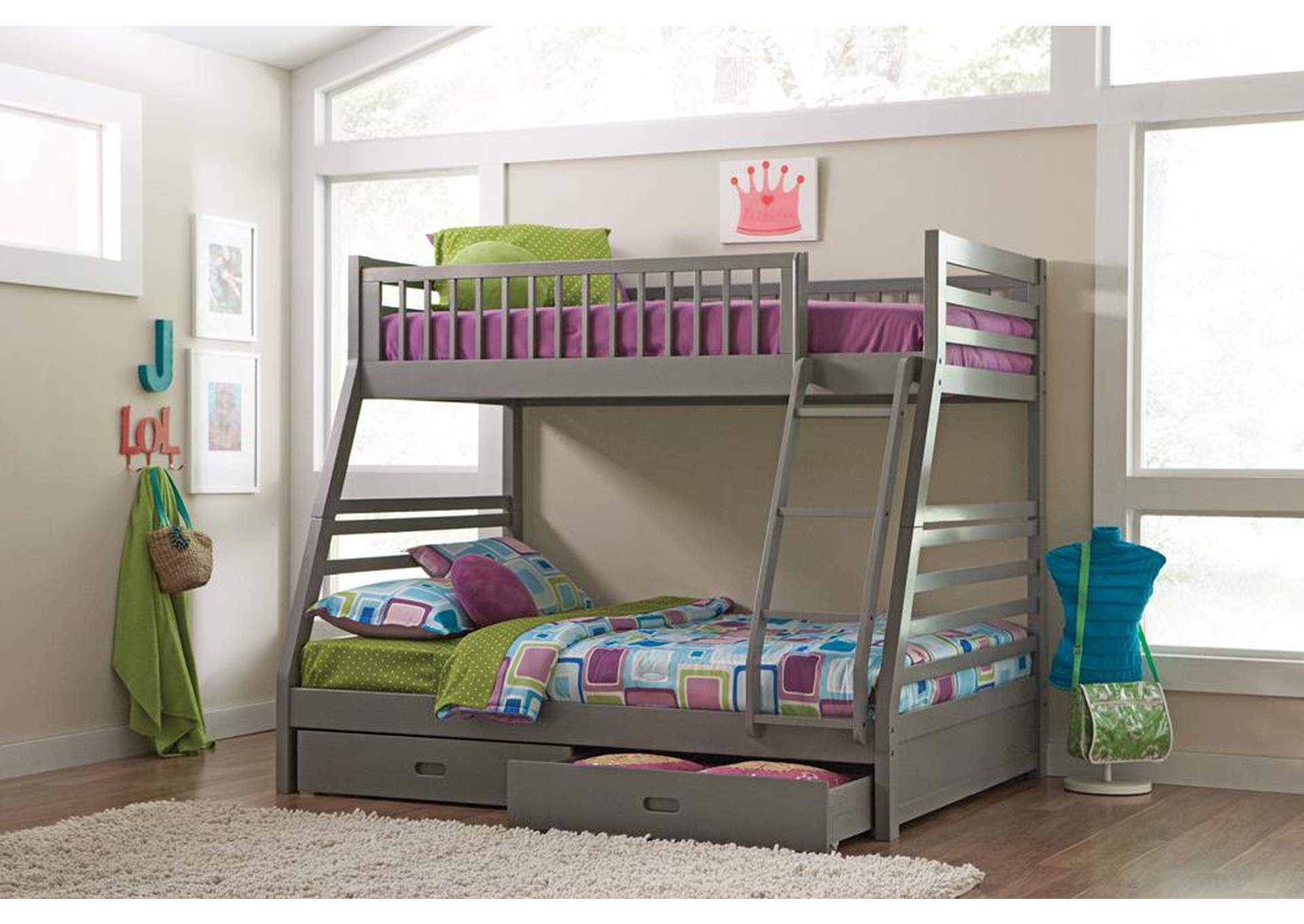 Ashton Grey Twin-over-Full Bunk Bed W/ 2 Drawer Storage,Coaster Furniture