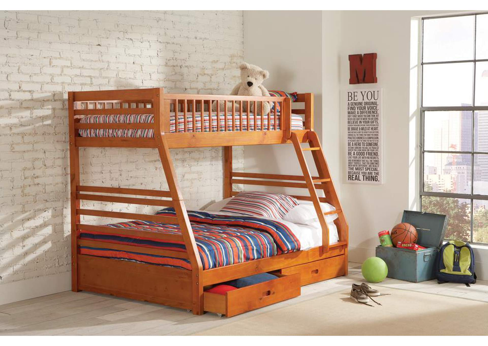 Ashton Honey Twin-over-Full Bunk Bed W/ 2 Drawer Storage,Coaster Furniture