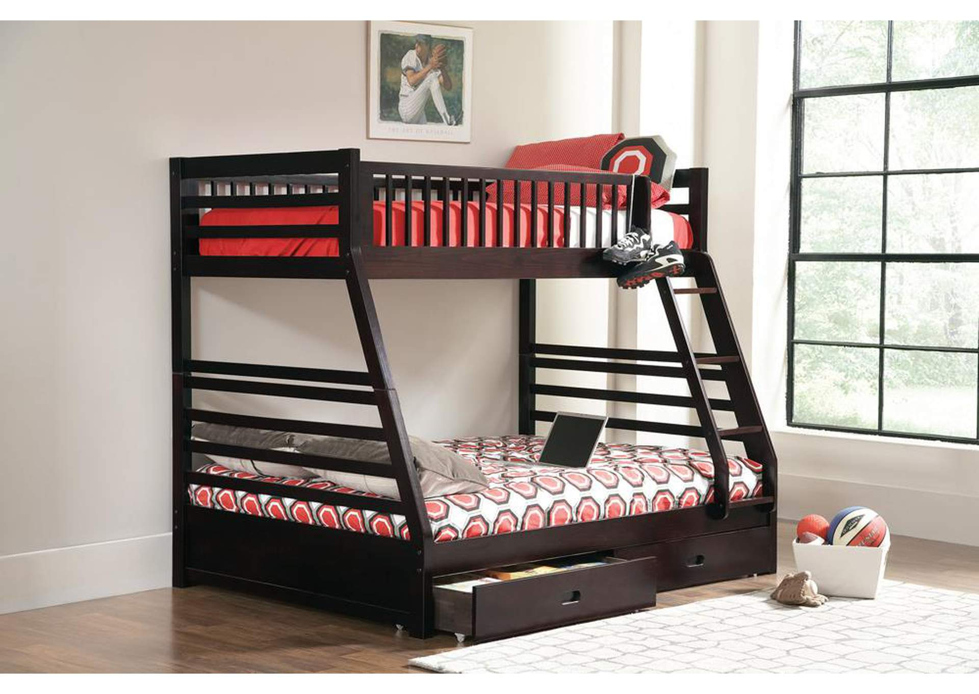 Ashton Cappuccino Twin-over-Full Bunk Bed W/ 2 Drawer Storage,Coaster Furniture