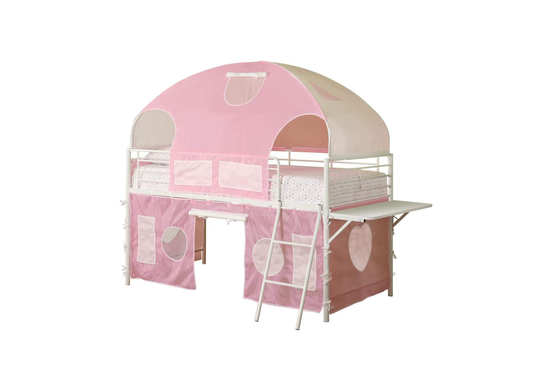 Shilo White and Pink Tent Bunk Bed,Coaster Furniture