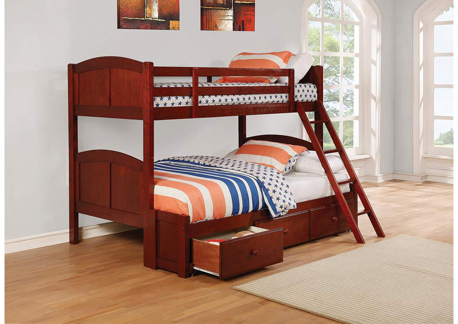 Parker Chestnut Panel Twin-over-Full Bunk Bed,Coaster Furniture