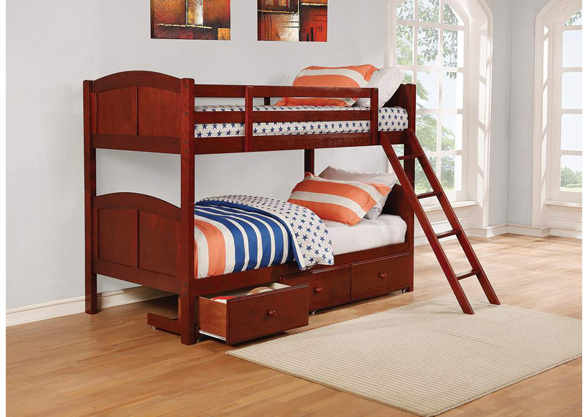 Parker Chestnut Panel Twin-over-Twin Bunk Bed,Coaster Furniture