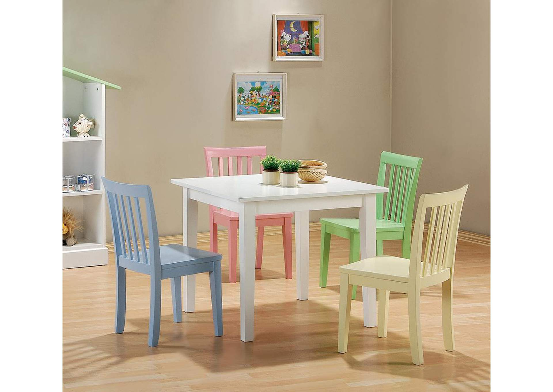 Rory Five-Piece Multi Color Youth Table and Chairs,Coaster Furniture