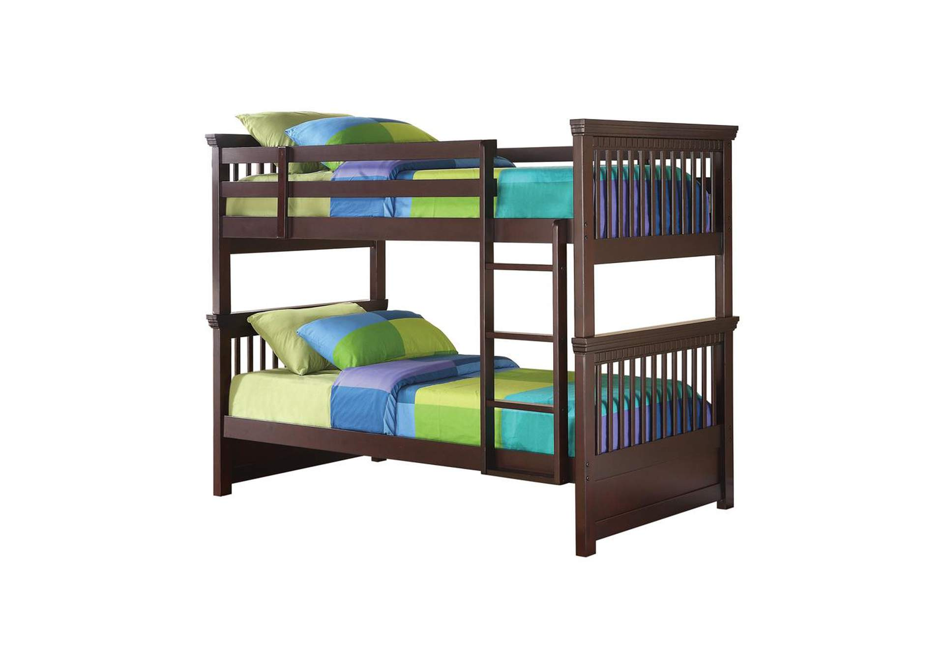 English Walnut Miles Cappuccino Twin-over-Twin Bunk Bed,Coaster Furniture