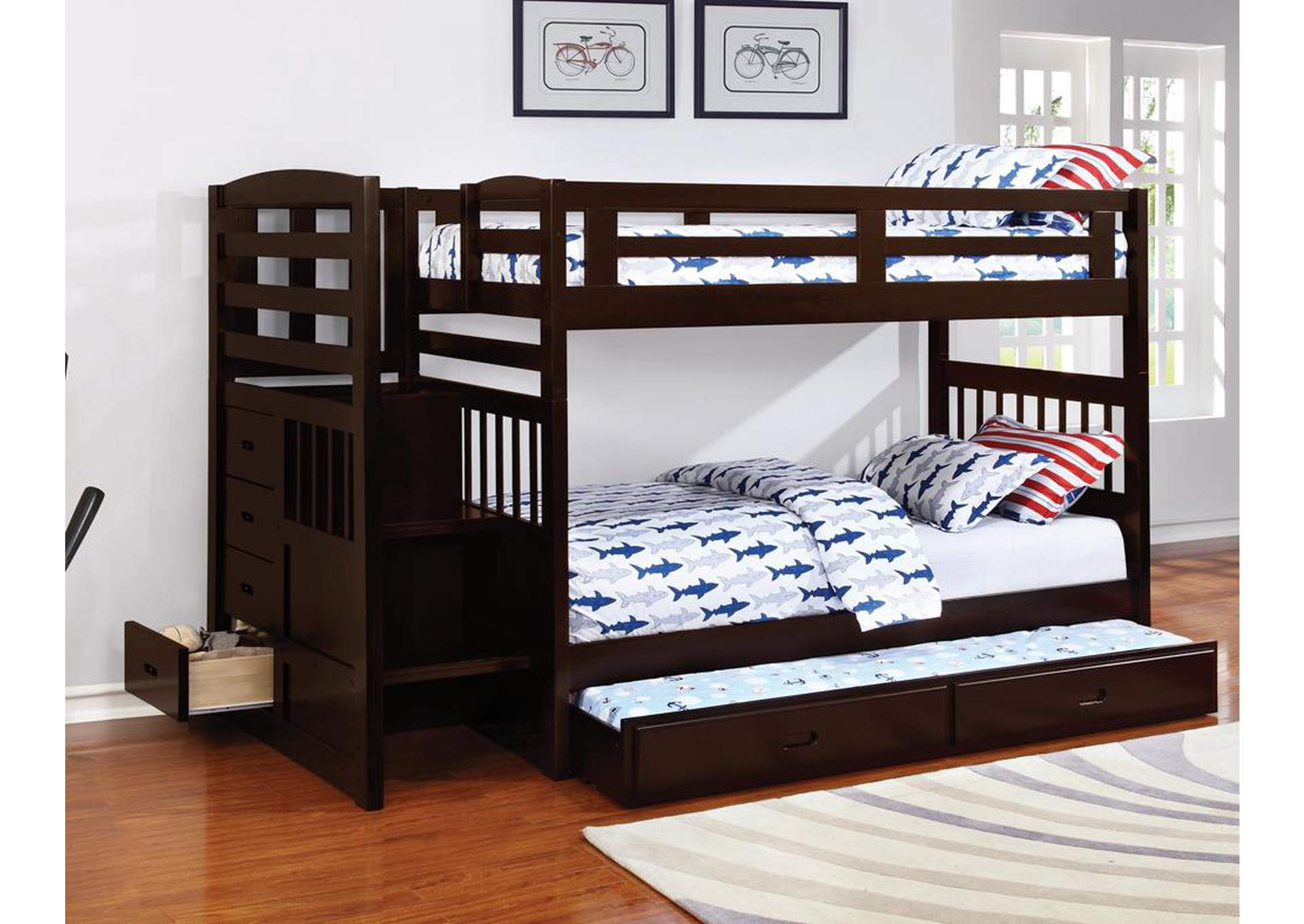 Dublin Cappuccino Twin/Twin Bunk Bed w/Trundle,Coaster Furniture