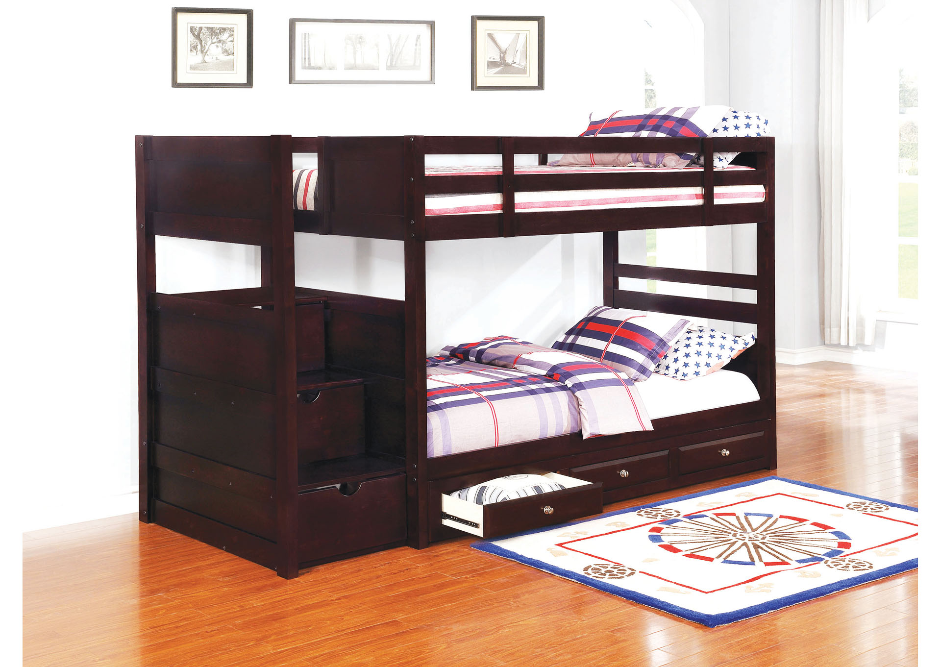 Cocoa Brown Elliott Transitional Cappuccino Twin-over-Twin Bunk Bed,Coaster Furniture