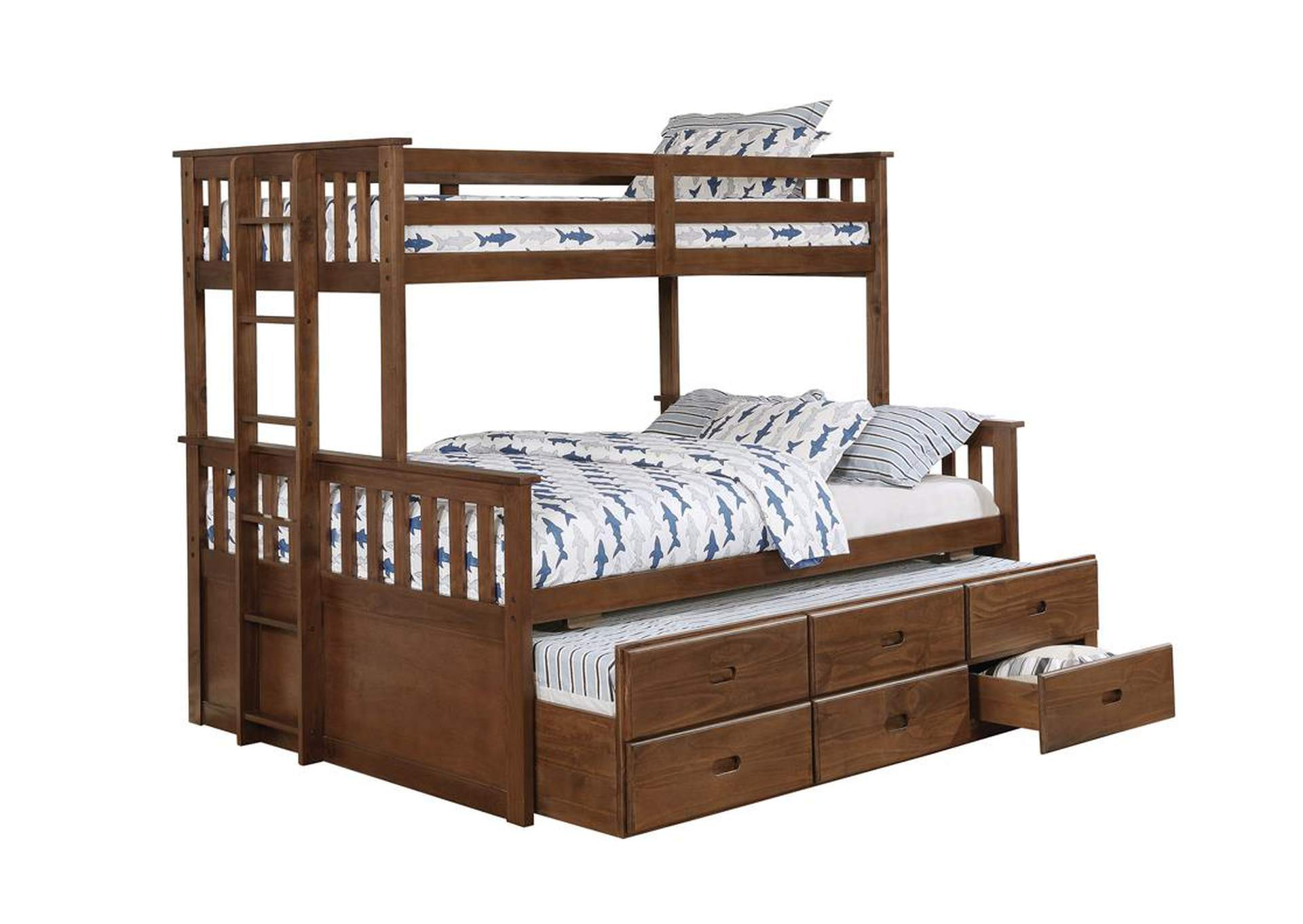 Quincy Atkin Weathered Walnut Twin XL-over-Queen Bunk Bed,Coaster Furniture