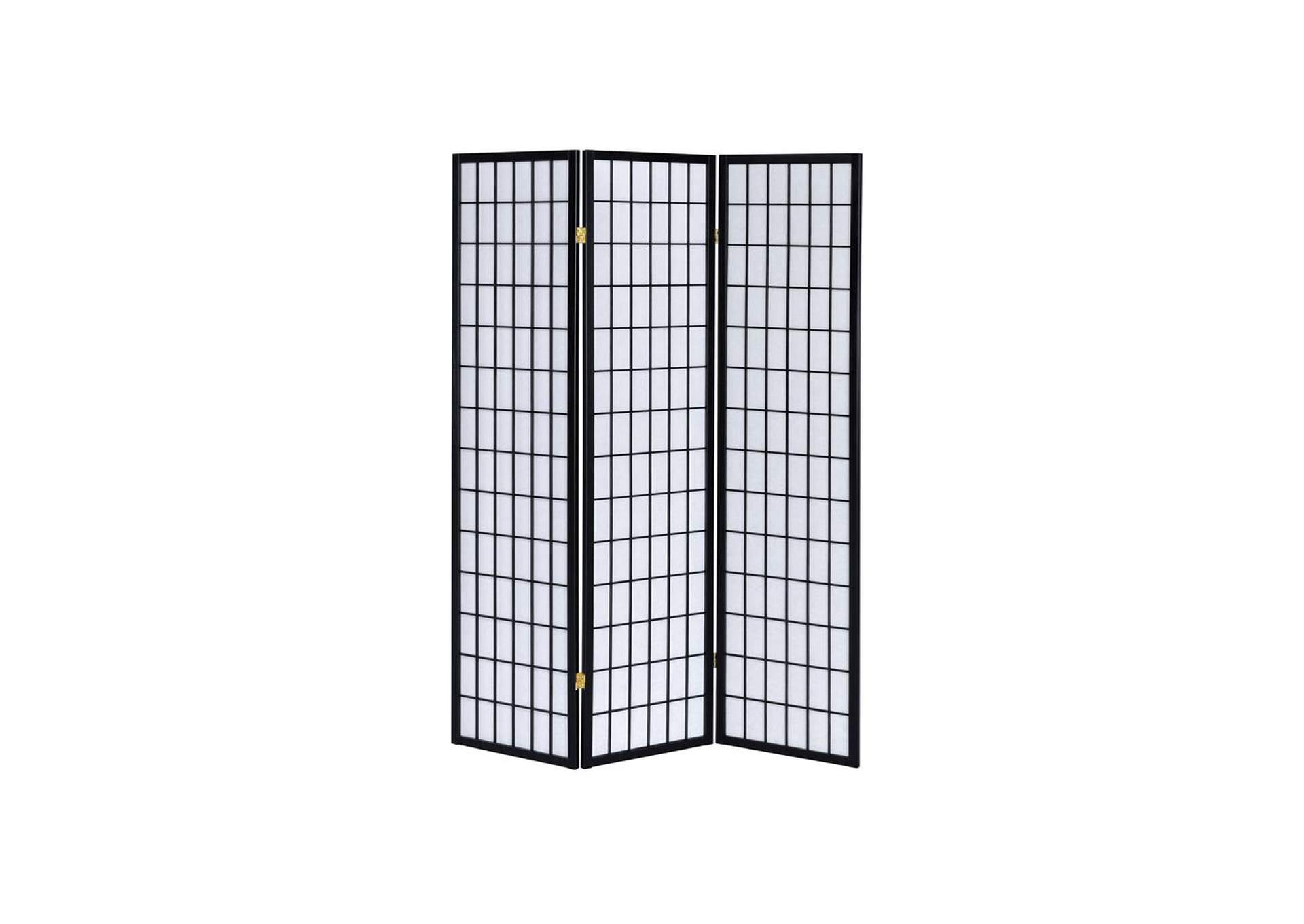 Bombay Transitional Three-Panel Black Folding Screen,Coaster Furniture