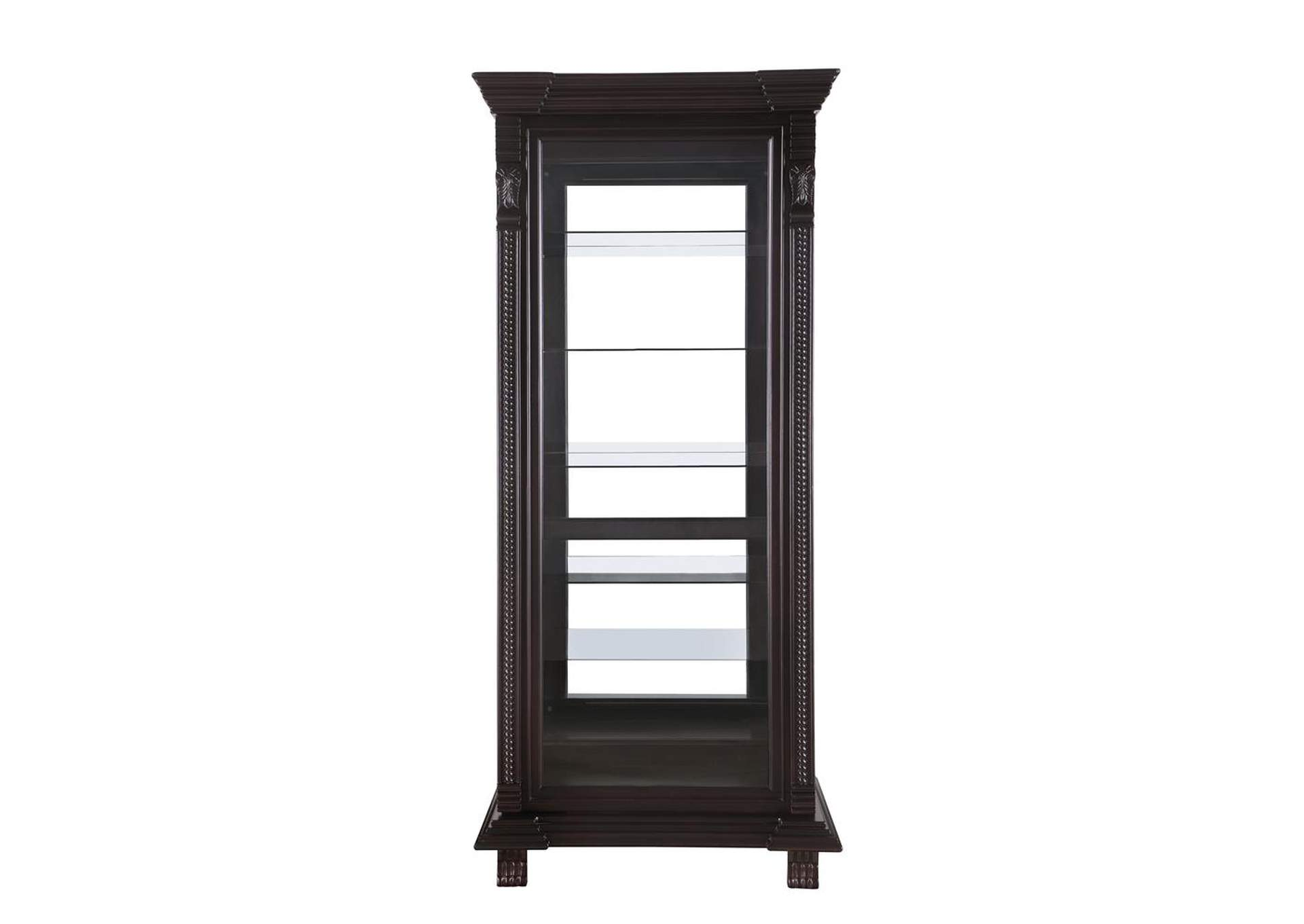 Eerie Black Traditional Brown Curio Cabinet,Coaster Furniture