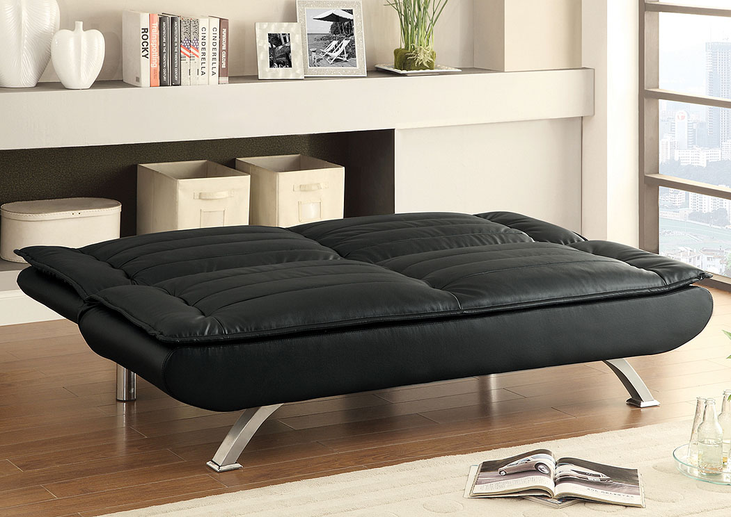 Mine Shaft Black Faux Leather Sofa Bed,Coaster Furniture