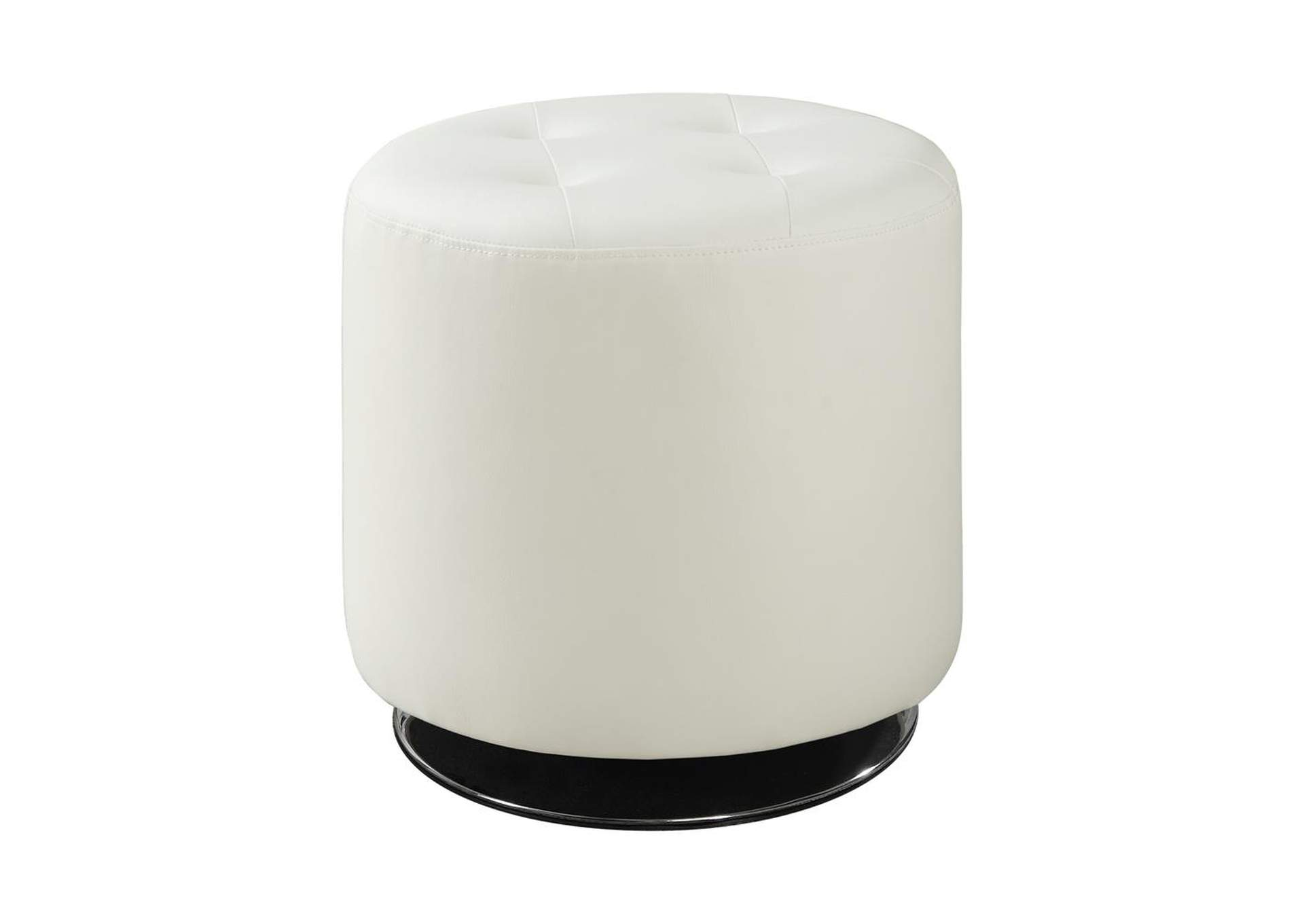 Kangaroo Contemporary White Round Ottoman,Coaster Furniture