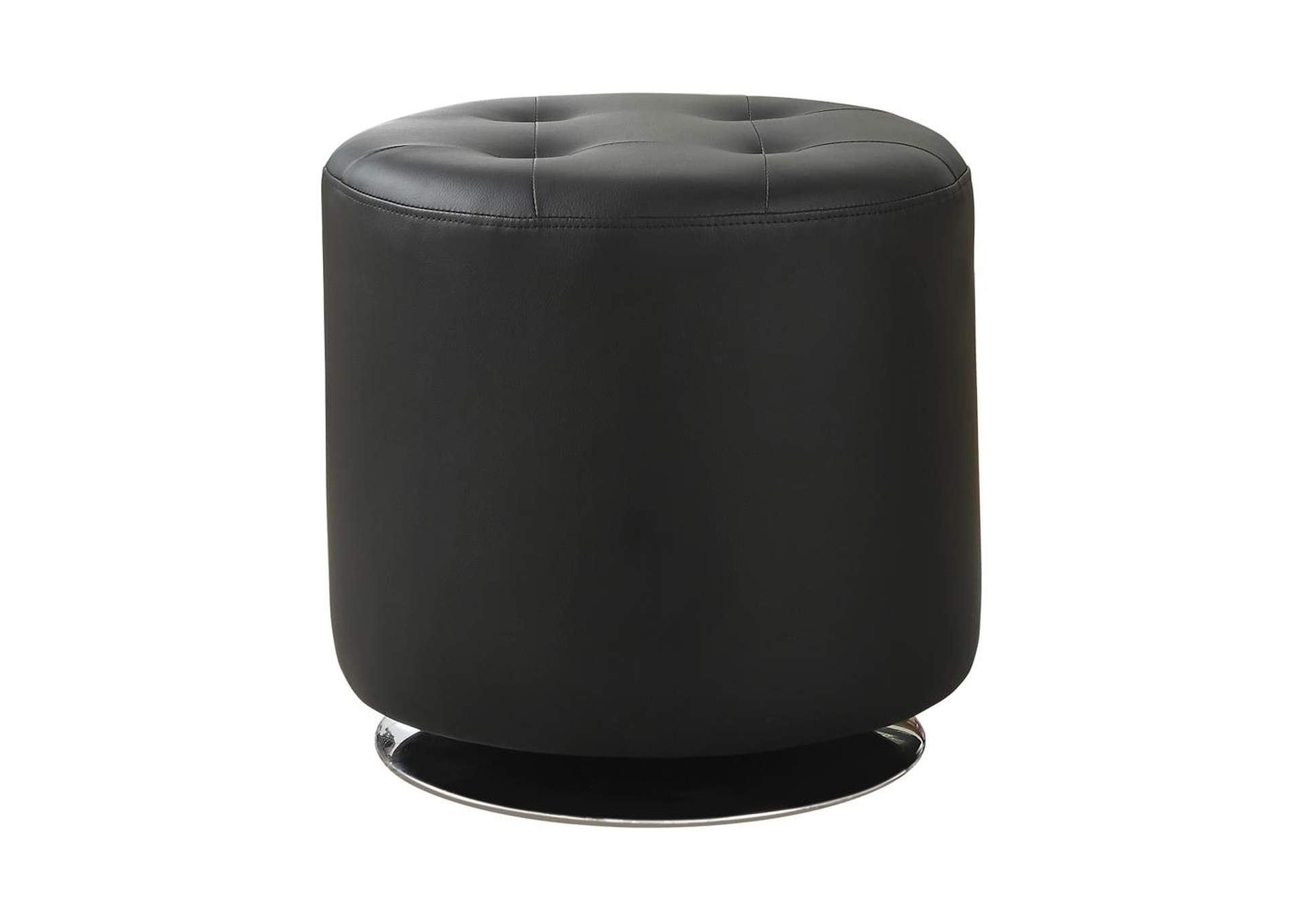 Eerie Black Contemporary Black Round Ottoman,Coaster Furniture