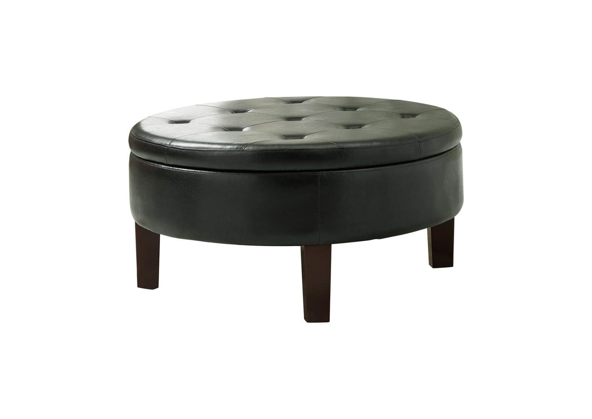 Heavy Metal Casual Dark Brown Round Ottoman,Coaster Furniture