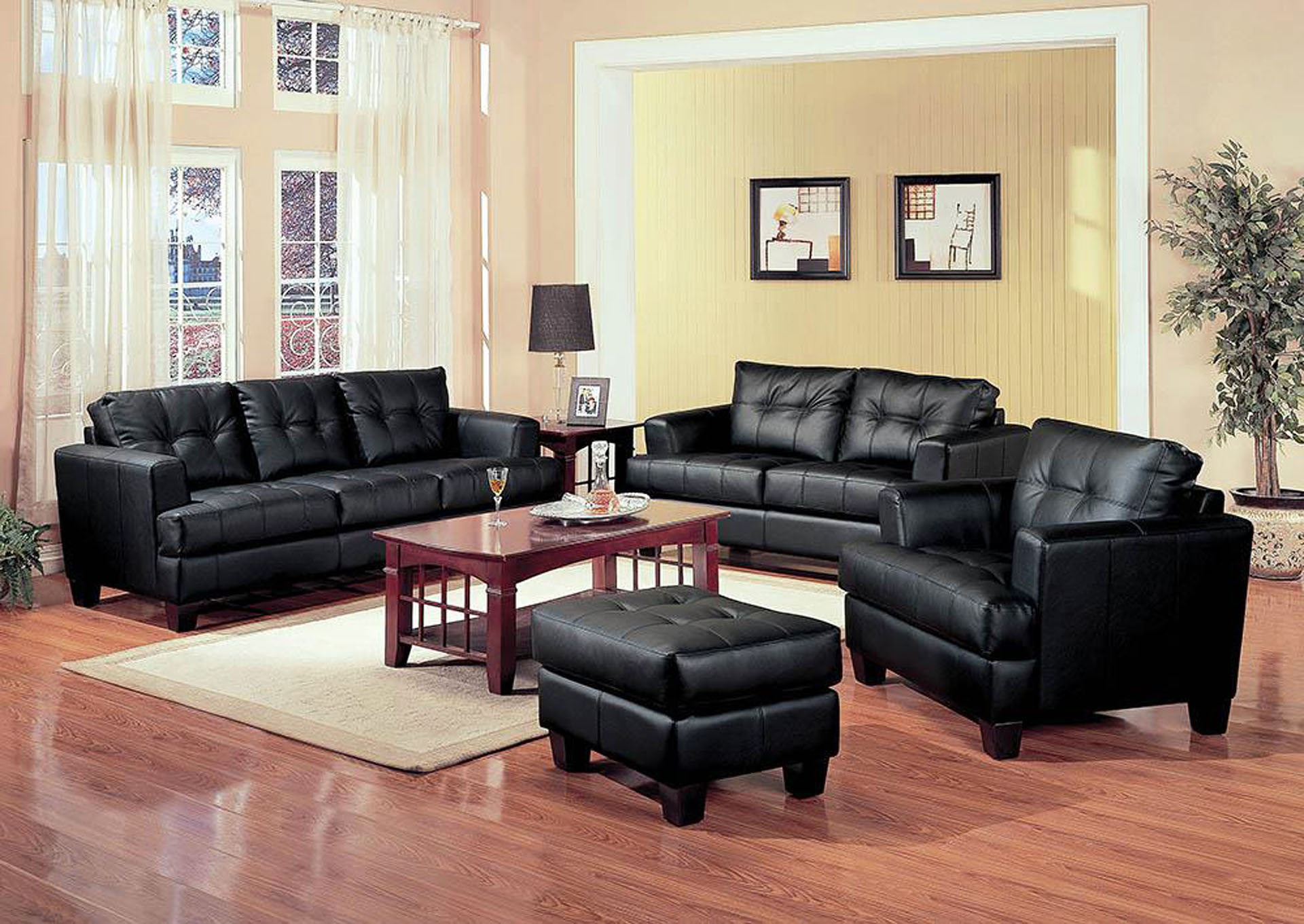 Cappuccino Samuel Transitional Black Loveseat,Coaster Furniture