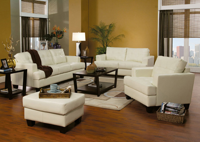 Samuel Cream Sofa and Loveseat,Coaster Furniture