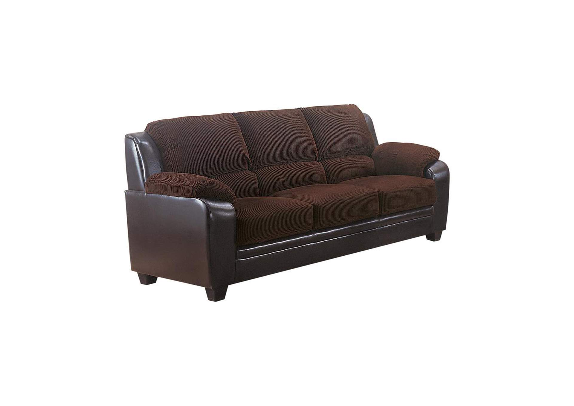 Eerie Black Monika Transitional Chocolate Sofa,Coaster Furniture