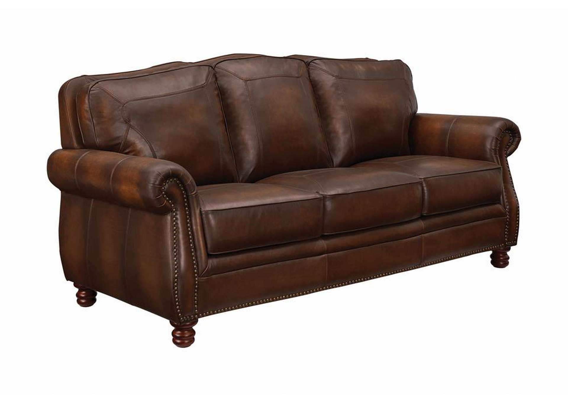 Cedar Montbrook Traditional Hand Rubbed Brown Sofa,Coaster Furniture
