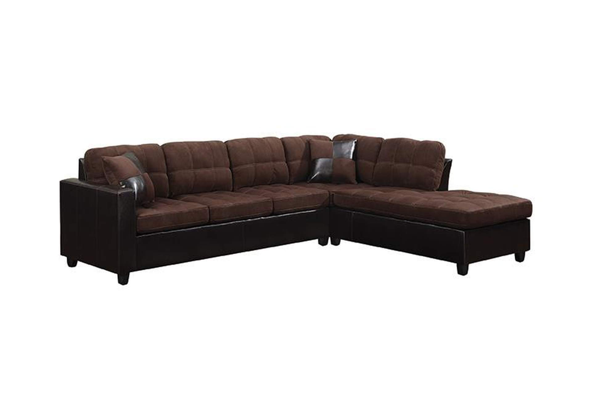 Eerie Black Mallory Casual Chocolate Sectional,Coaster Furniture