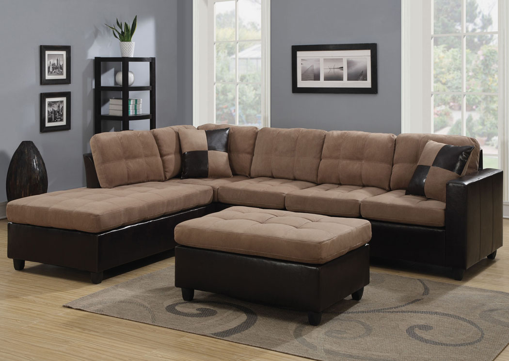 Mallory Tan Sectional & Ottoman,Coaster Furniture