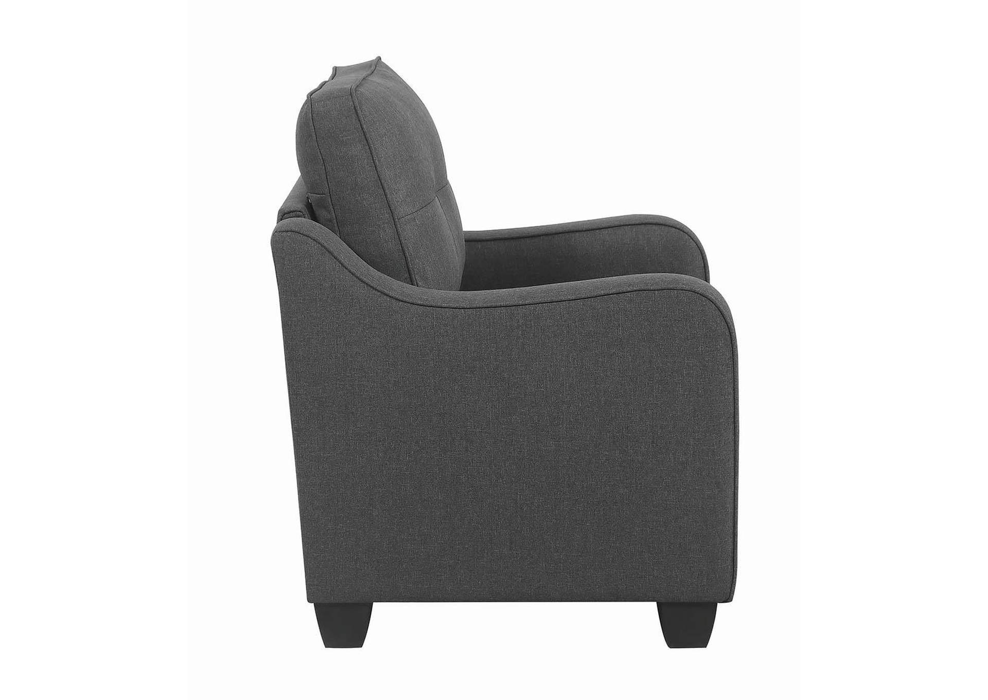 Nicolette Dark Grey Tufted Armchair,Coaster Furniture
