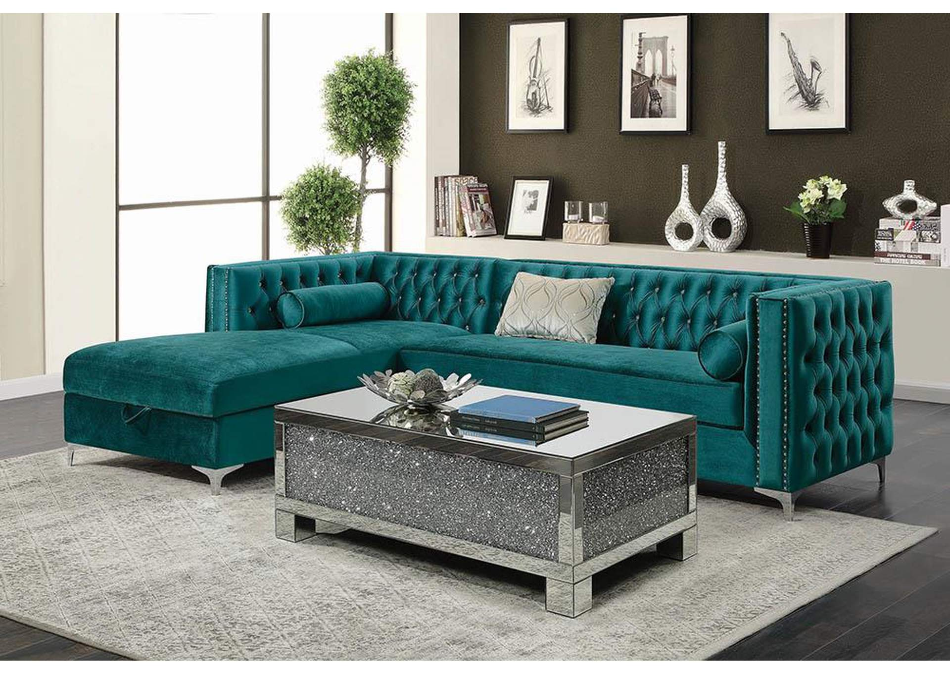 Cod Gray Bellaire Contemporary Teal and Chrome Sectional,Coaster Furniture