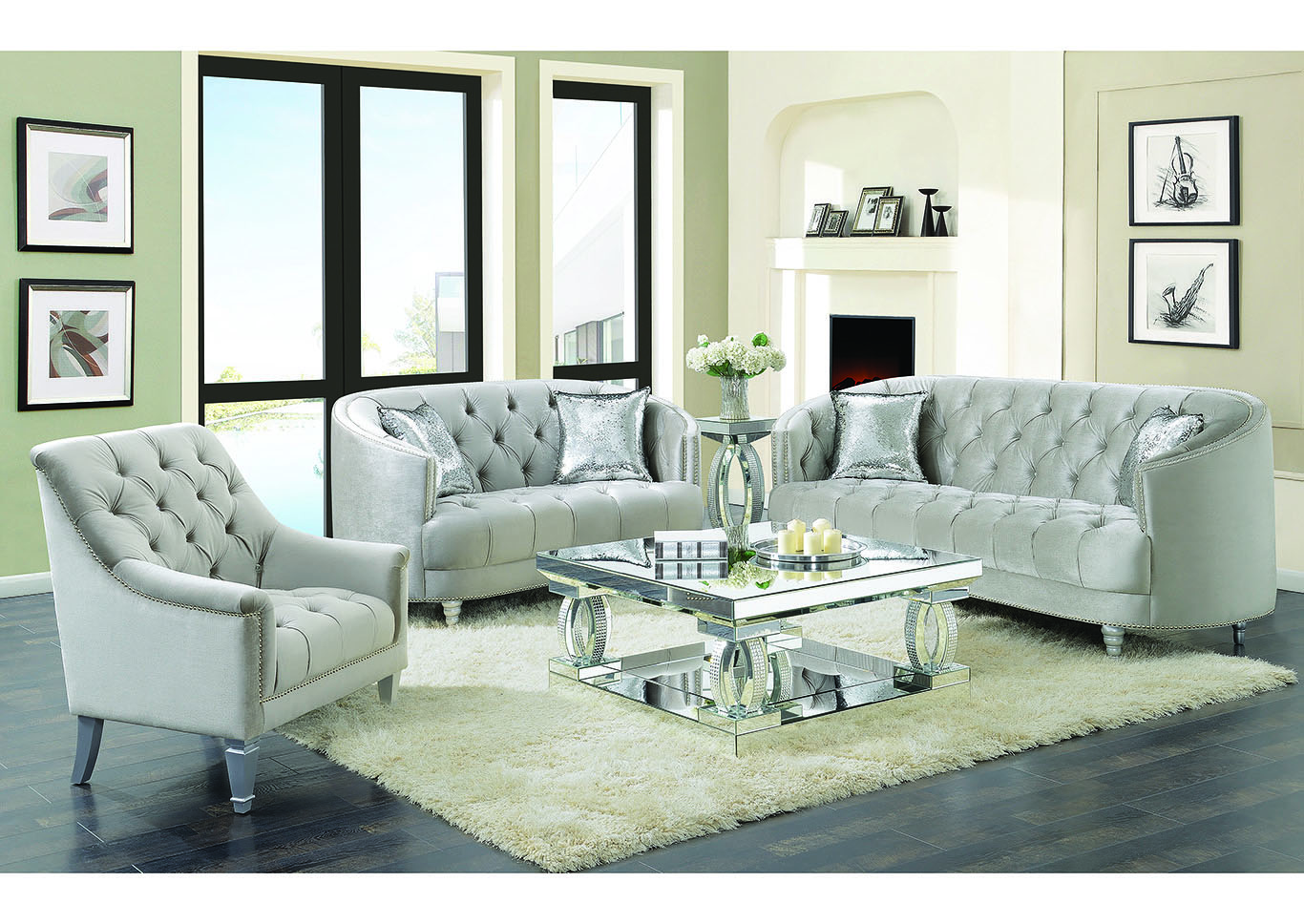 Silver Sofa & Loveseat,Coaster Furniture