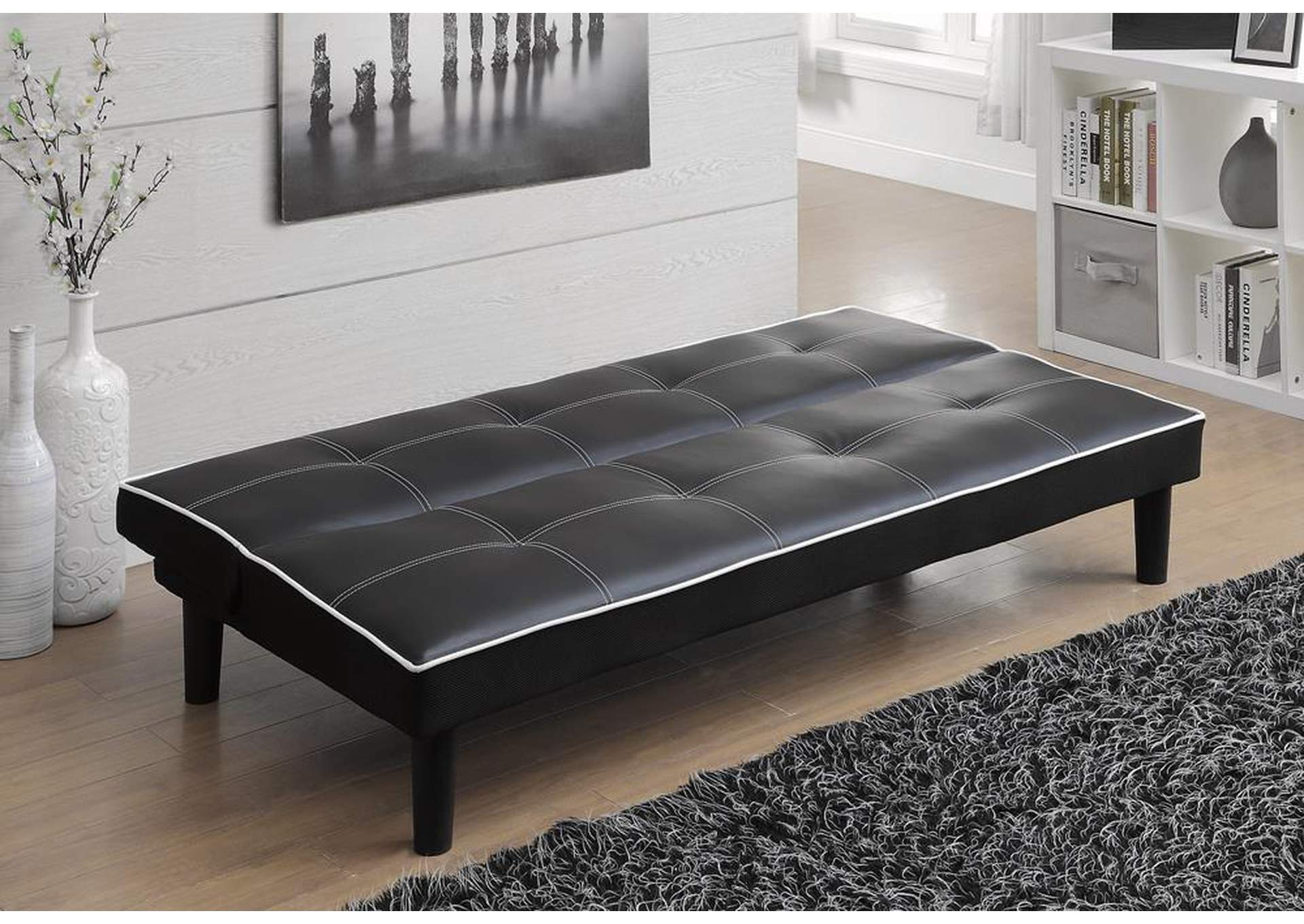 Black Contemporary Black Faux Leather Sofa Bed,Coaster Furniture