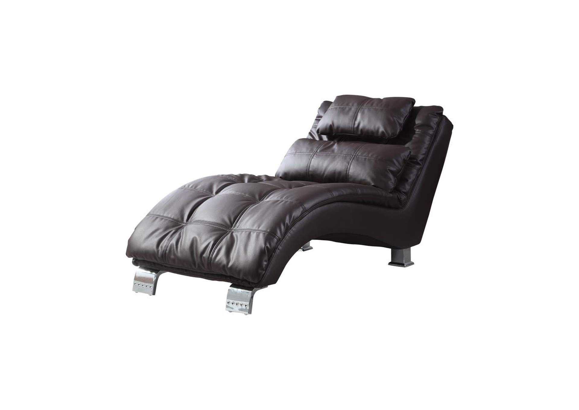 Eerie Black Contemporary Brown Faux Leather Chaise,Coaster Furniture