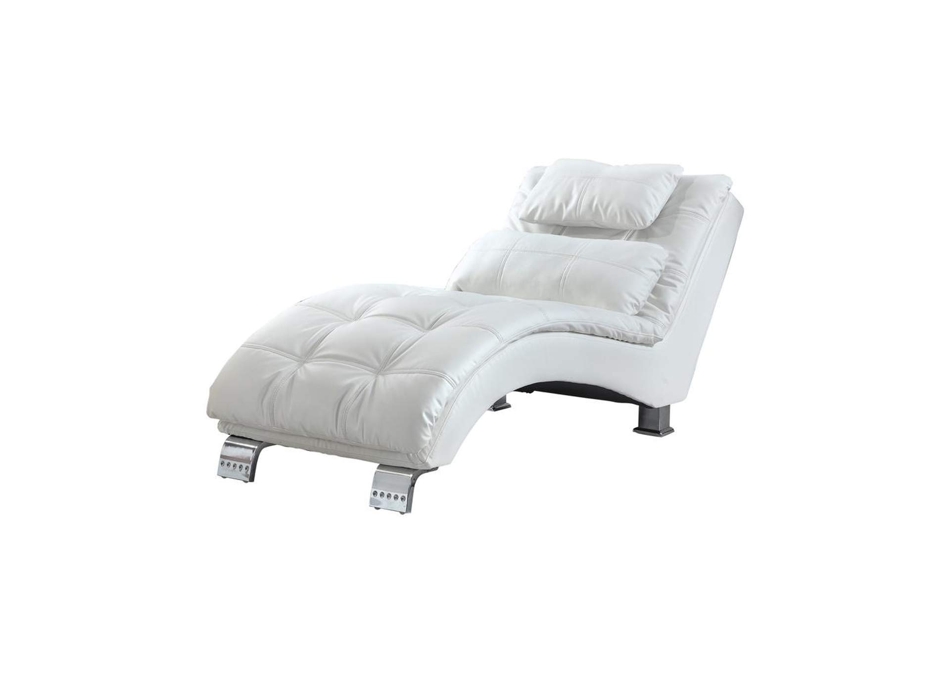 Chrome Dilleston Contemporary White Chaise,Coaster Furniture
