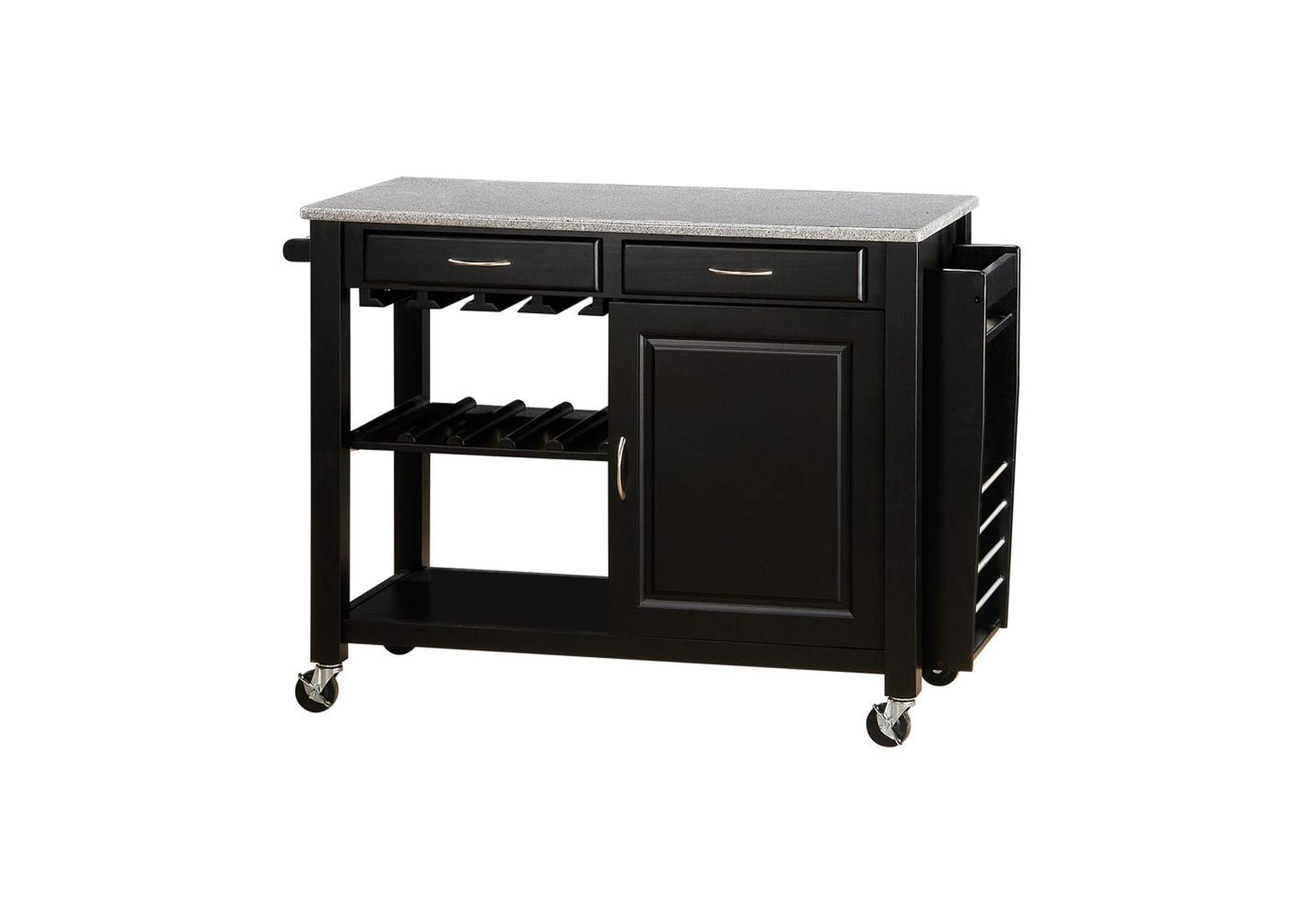 Black Kitchen Cart W/ Granite Top,Coaster Furniture