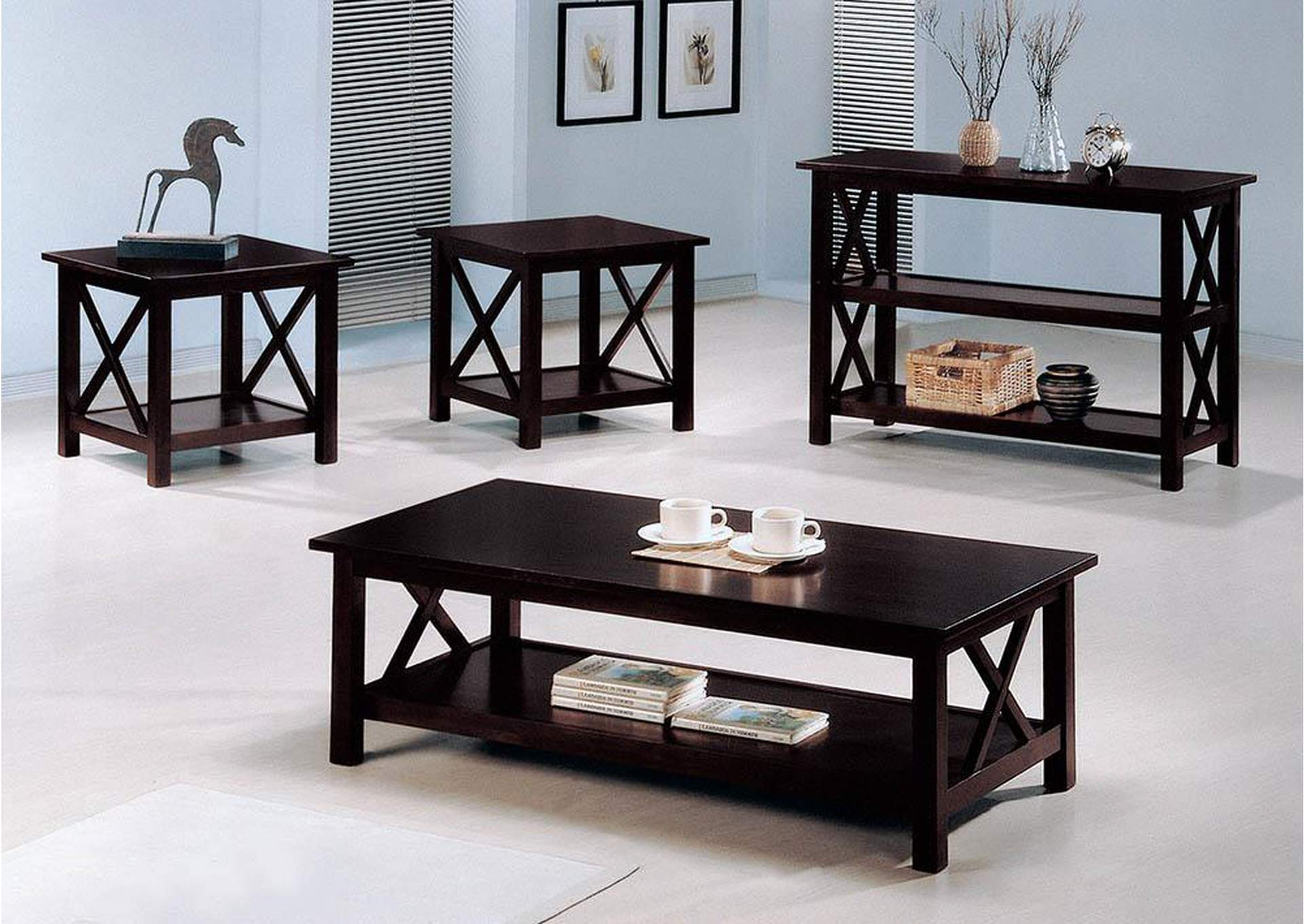 Dark Merlot Casual Deep Three-Piece Occasional Set,Coaster Furniture