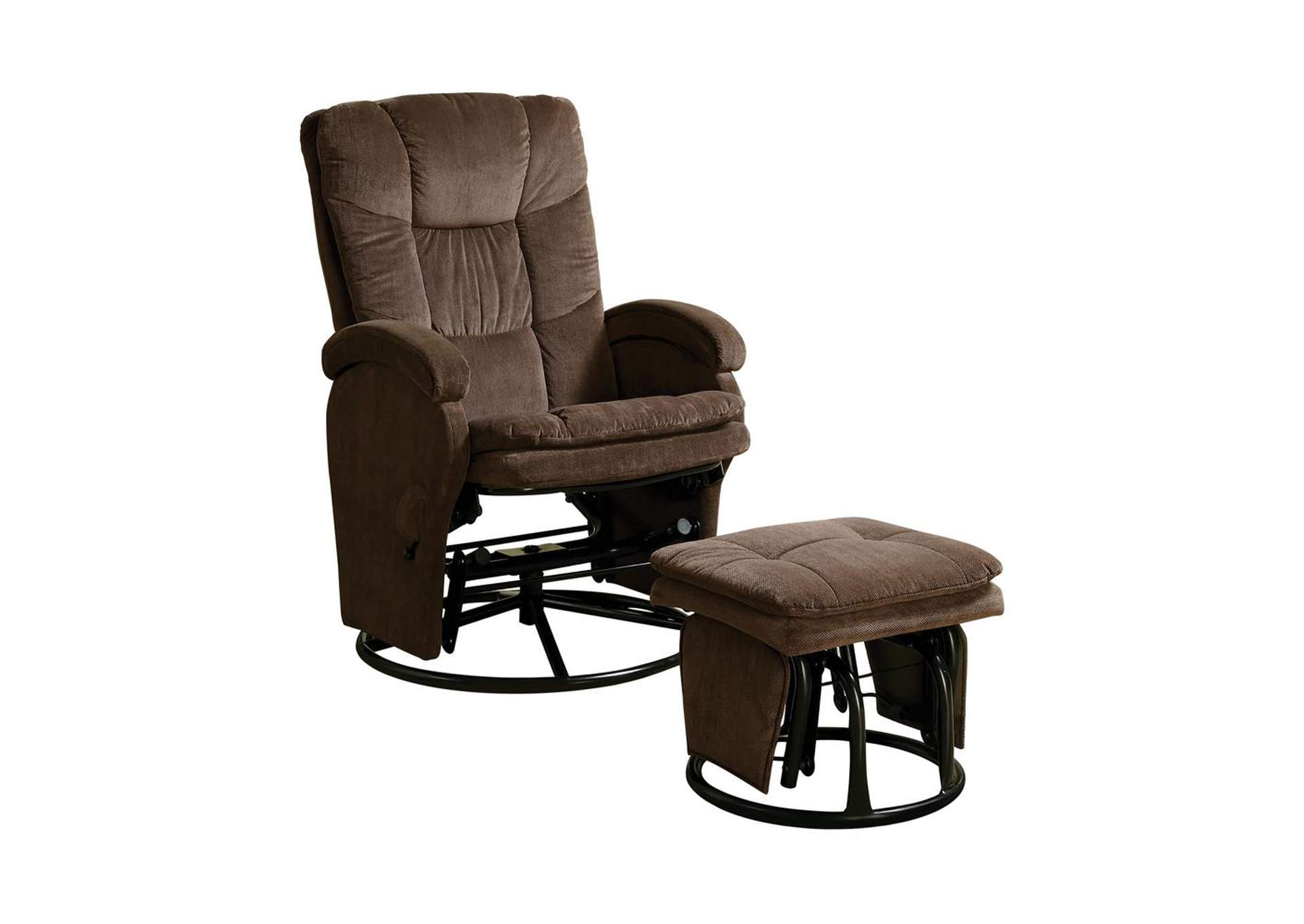 Mikado Casual Chocolate Reclining Glider W/ Matching Ottoman,Coaster Furniture